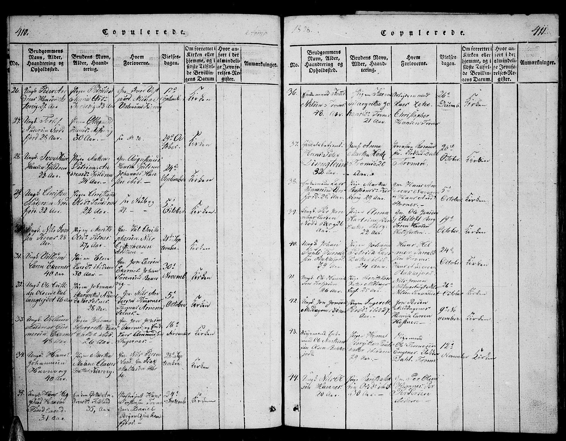 SATØ, Tromsø sokneprestkontor/stiftsprosti/domprosti, G/Ga/L0007kirke: Ministerialbok nr. 7, 1821-1828, s. 410-411
