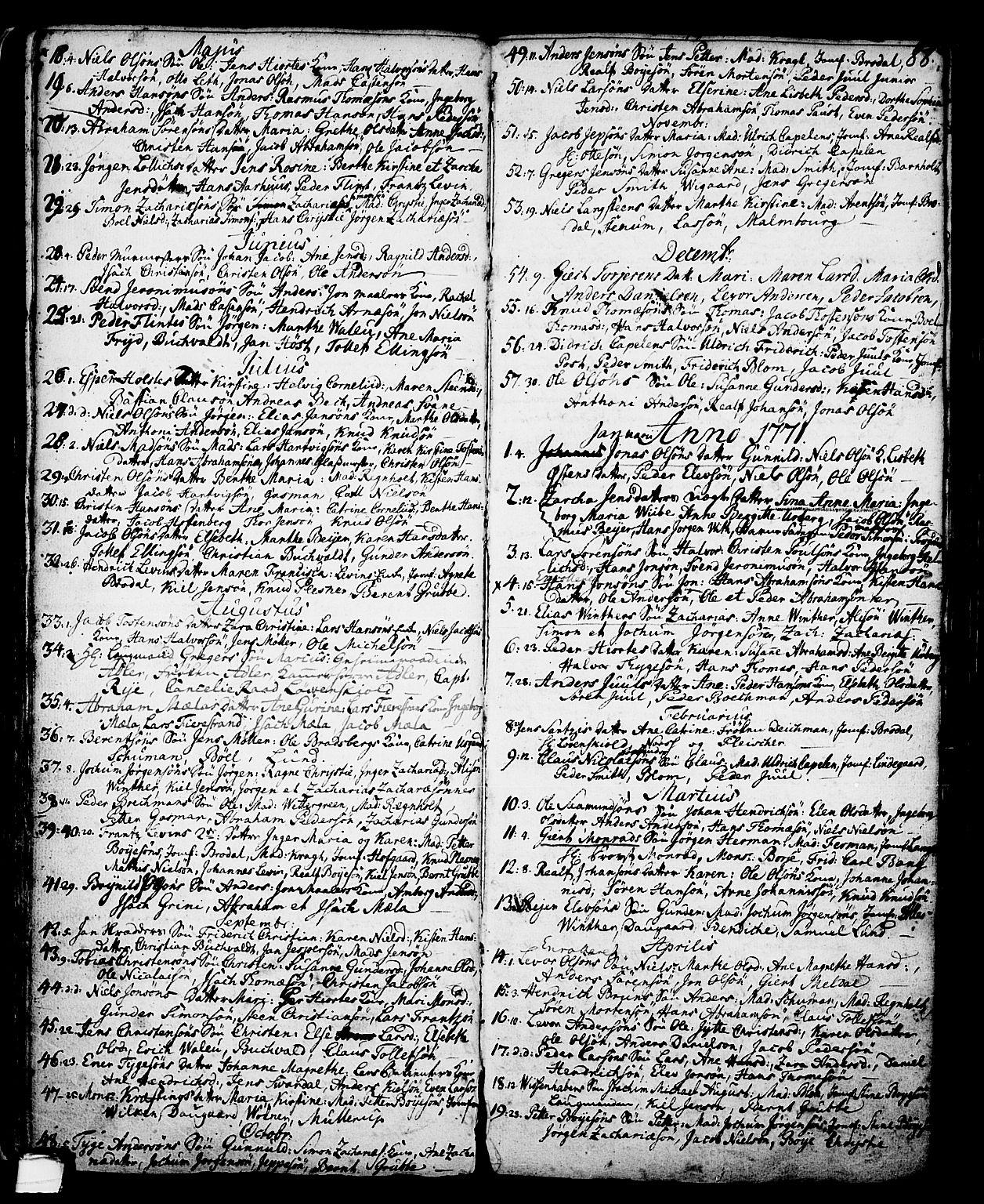 SAKO, Skien kirkebøker, G/Ga/L0001: Klokkerbok nr. 1, 1756-1791, s. 88