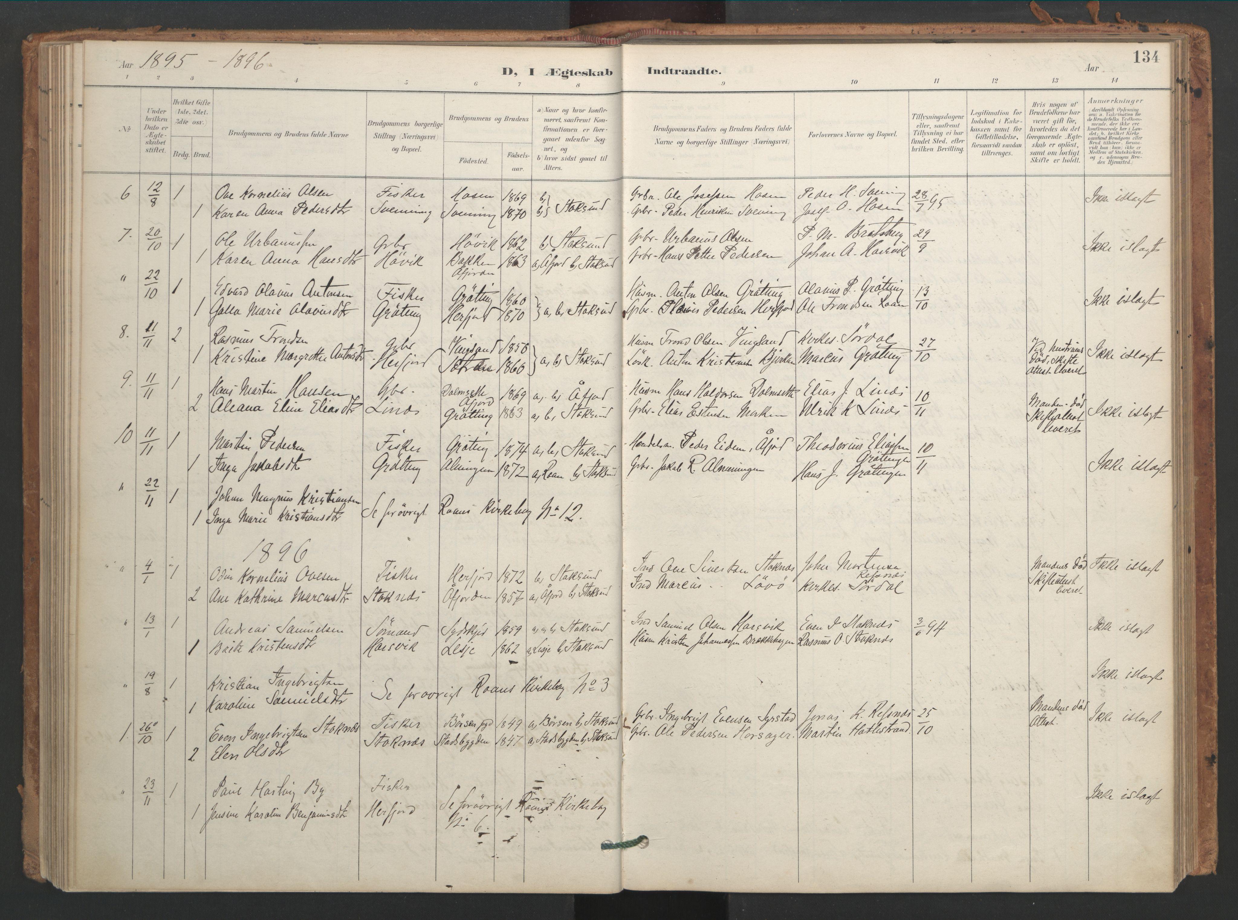 SAT, Ministerialprotokoller, klokkerbøker og fødselsregistre - Sør-Trøndelag, 656/L0693: Ministerialbok nr. 656A02, 1894-1913, s. 134