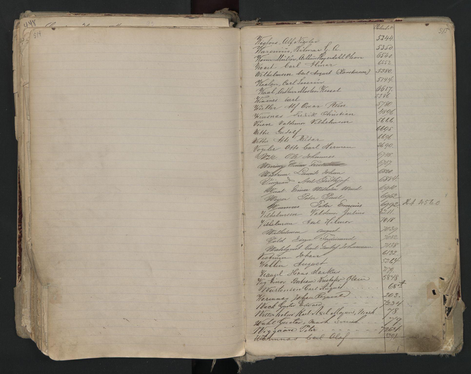 SAO, Oslo sjømannskontor, F/Fa/L0002: Register for Kristiania krets, 1866-1930, s. 514-515