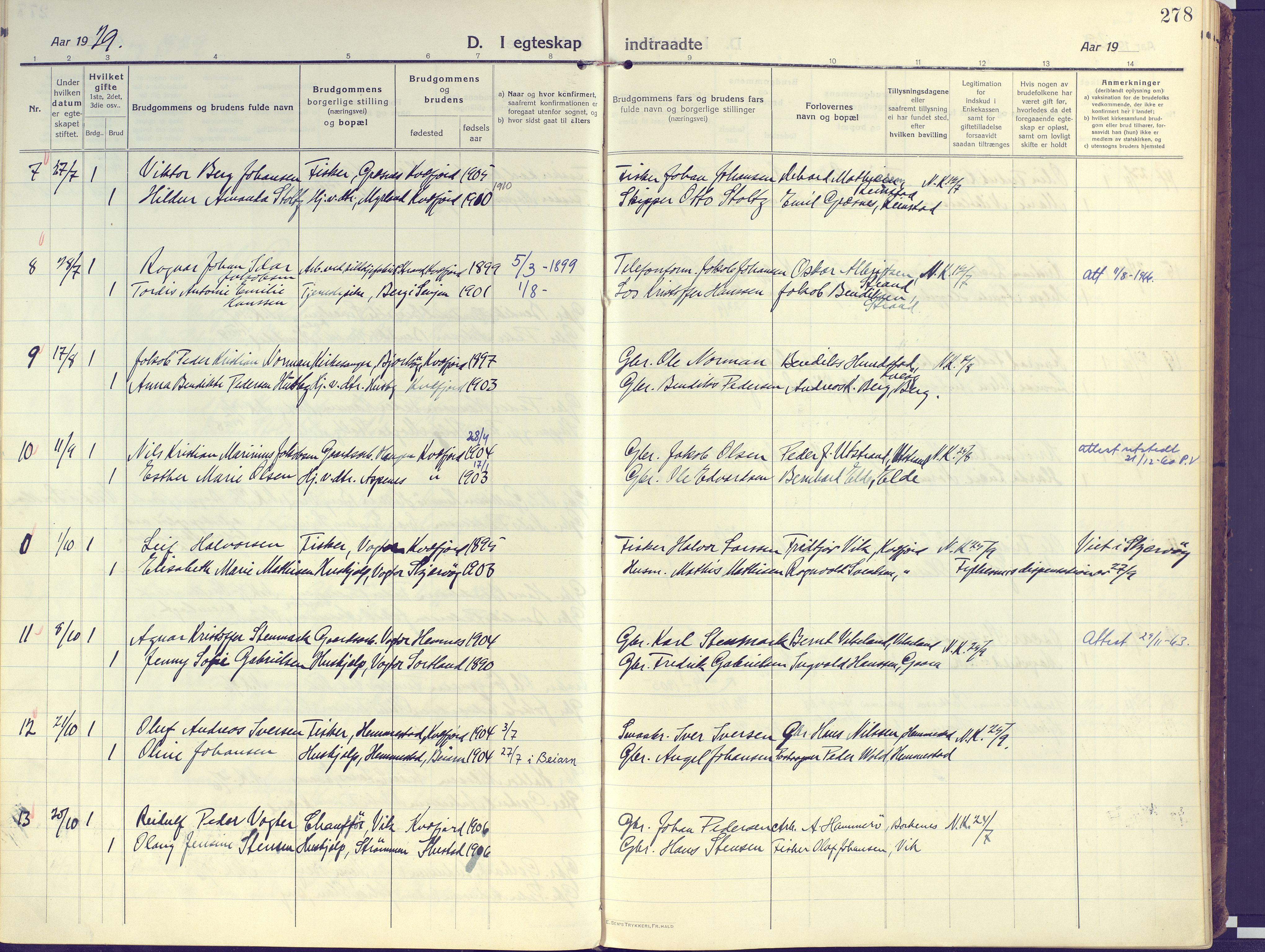 SATØ, Kvæfjord sokneprestkontor, G/Ga/Gaa/L0007kirke: Ministerialbok nr. 7, 1915-1931, s. 278
