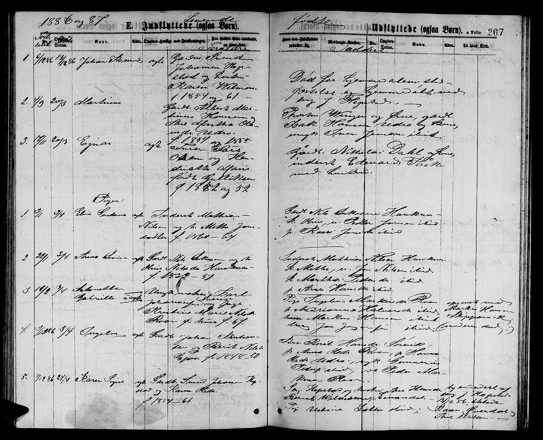 SAT, Ministerialprotokoller, klokkerbøker og fødselsregistre - Sør-Trøndelag, 657/L0715: Klokkerbok nr. 657C02, 1873-1888, s. 267