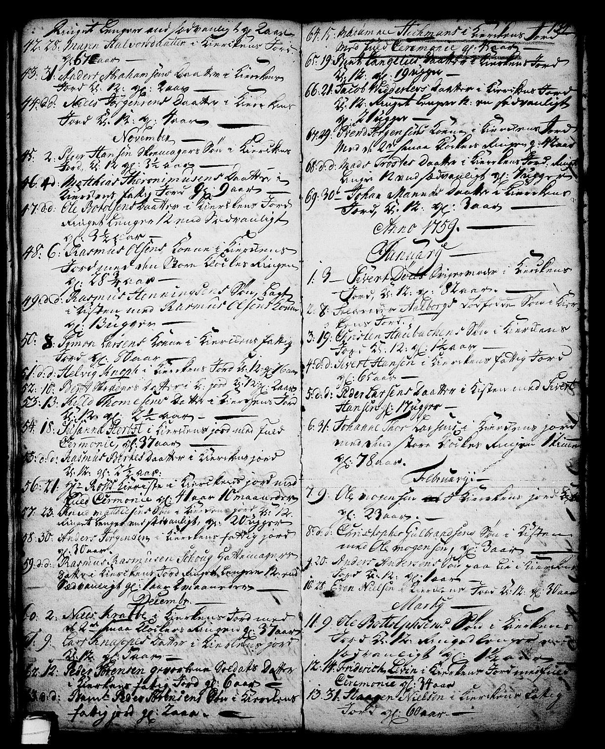 SAKO, Skien kirkebøker, G/Ga/L0001: Klokkerbok nr. 1, 1756-1791, s. 134