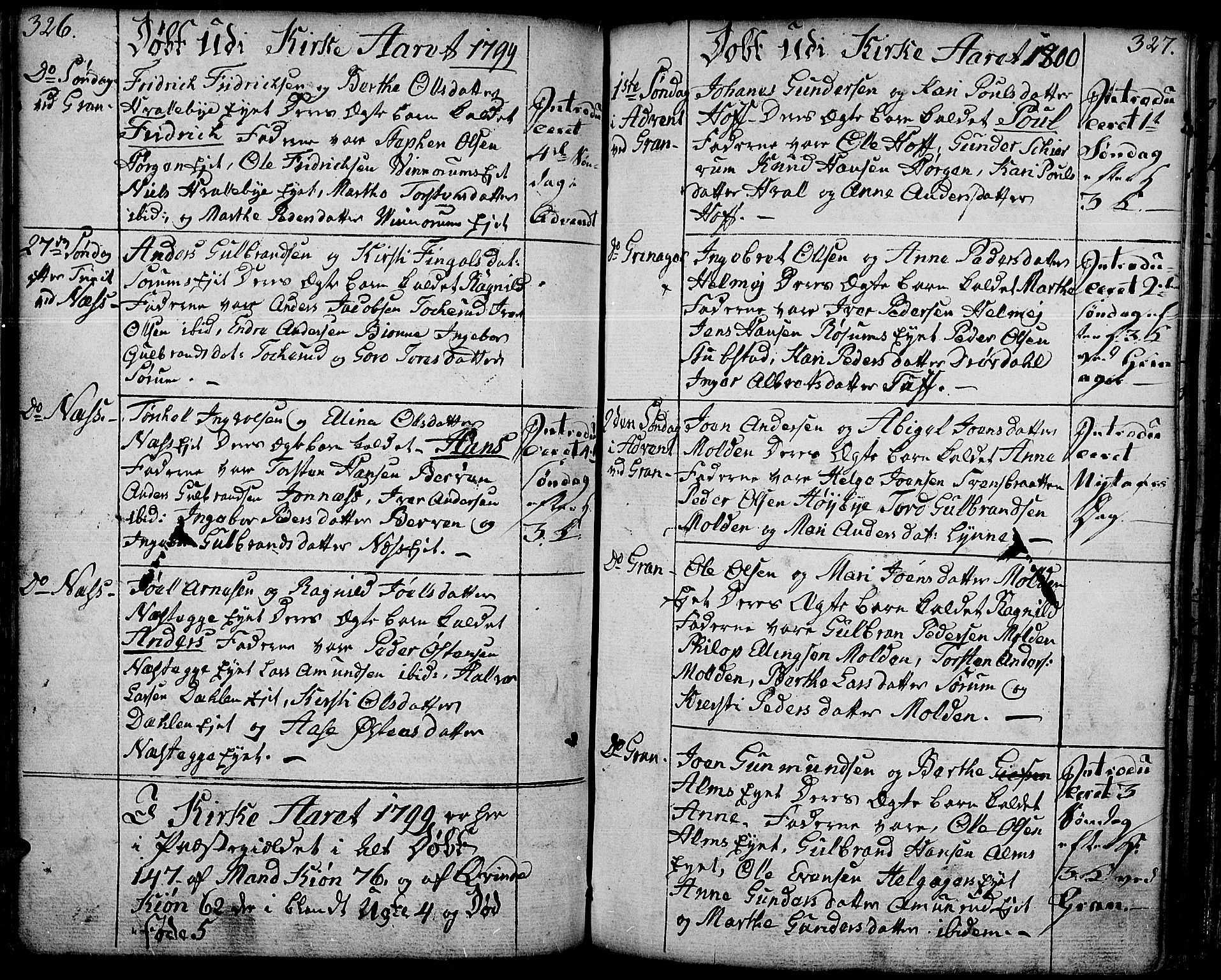 SAH, Gran prestekontor, Ministerialbok nr. 6, 1787-1824, s. 326-327