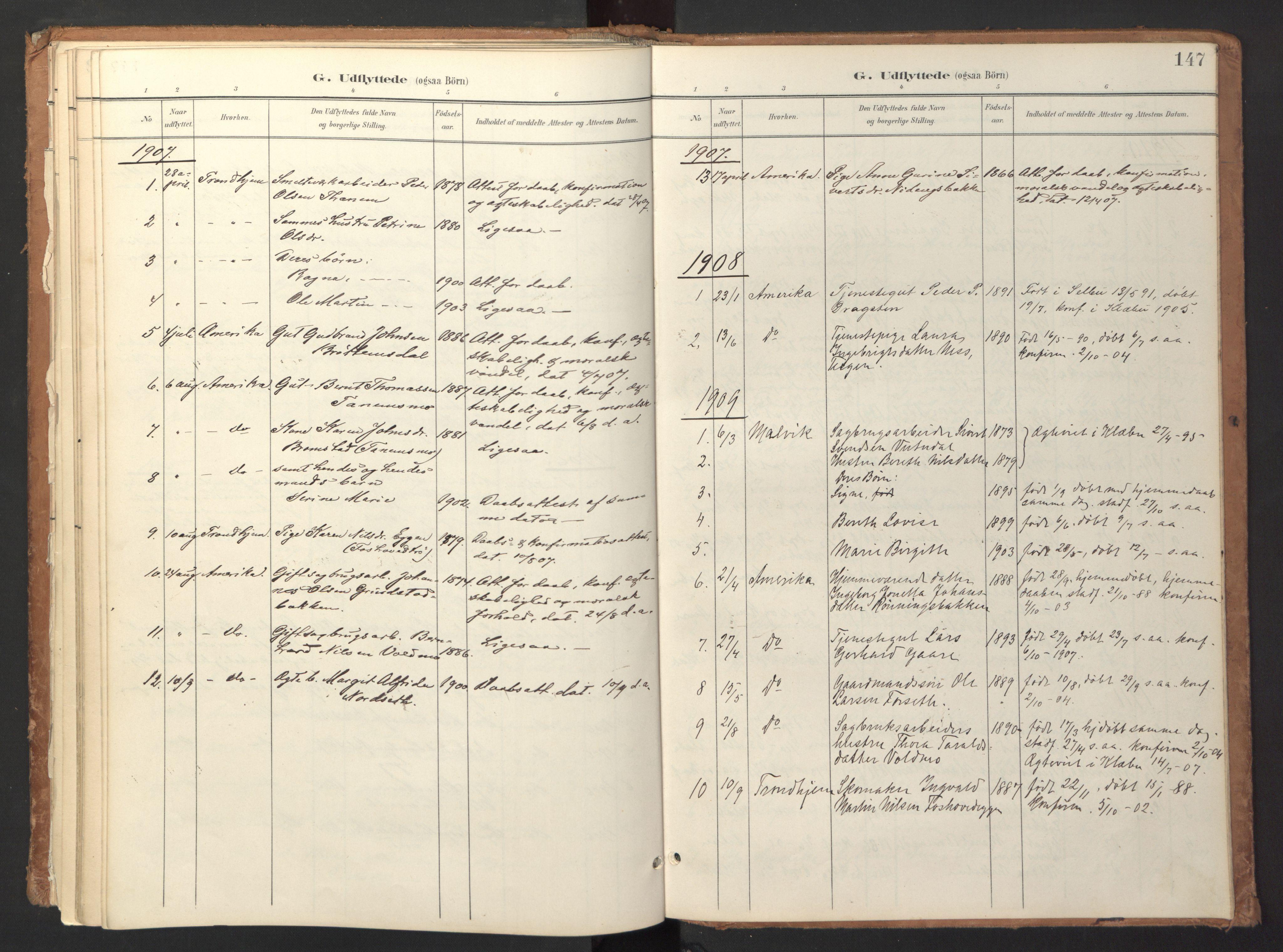 SAT, Ministerialprotokoller, klokkerbøker og fødselsregistre - Sør-Trøndelag, 618/L0448: Ministerialbok nr. 618A11, 1898-1916, s. 147