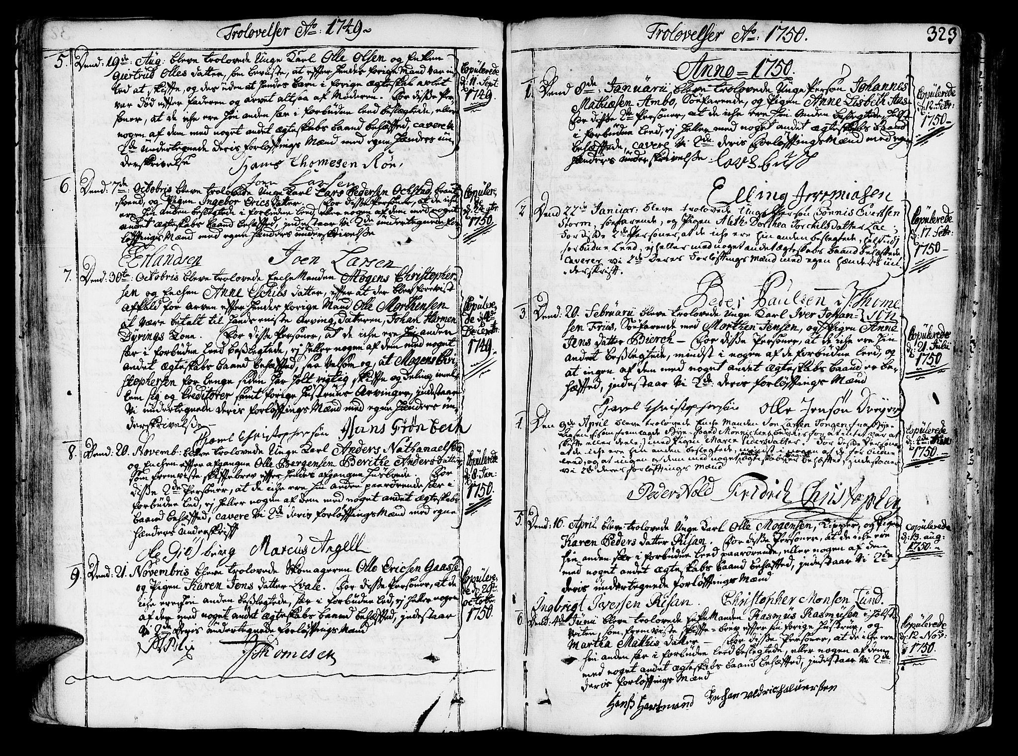 SAT, Ministerialprotokoller, klokkerbøker og fødselsregistre - Sør-Trøndelag, 602/L0103: Ministerialbok nr. 602A01, 1732-1774, s. 323