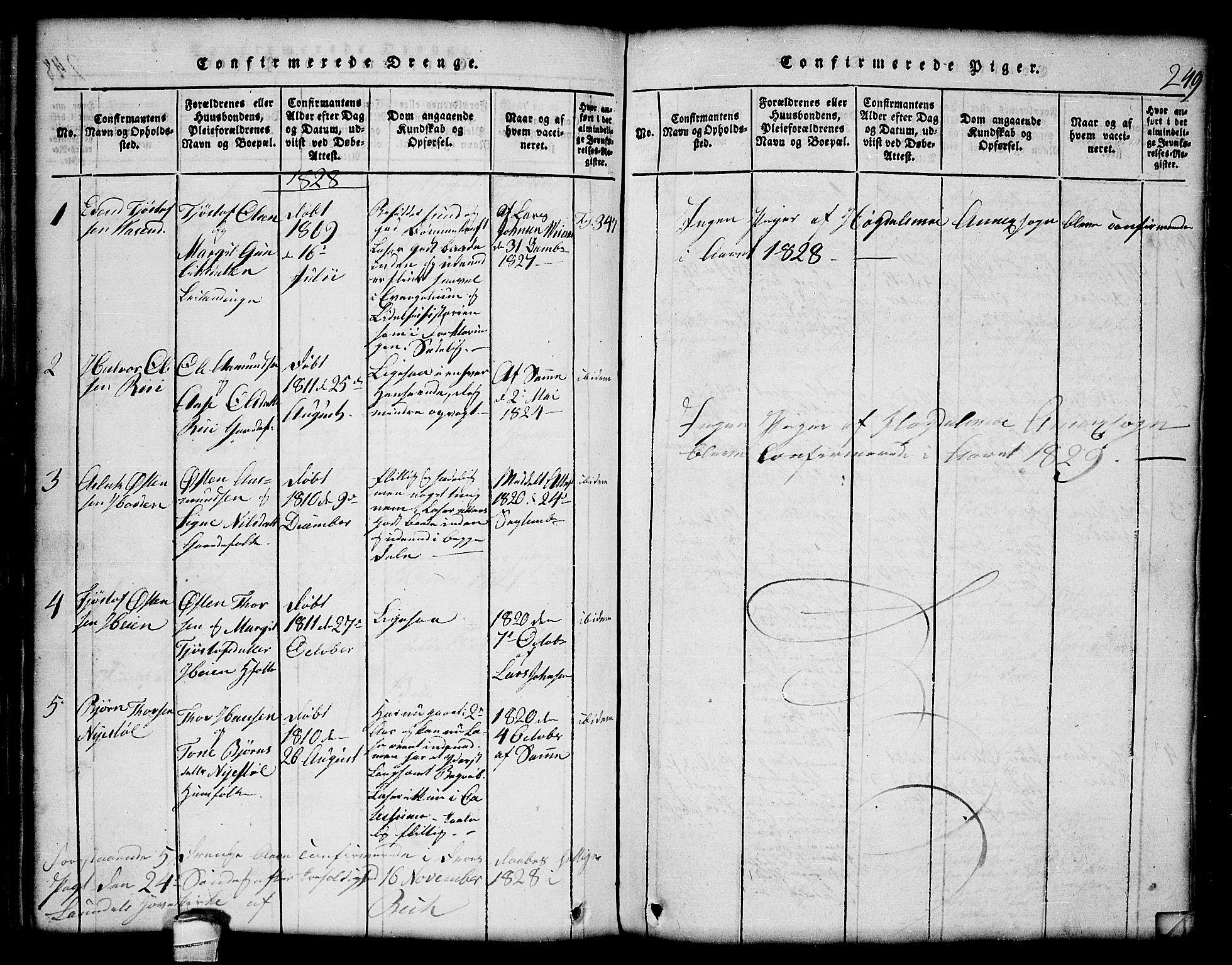 SAKO, Lårdal kirkebøker, G/Gc/L0001: Klokkerbok nr. III 1, 1815-1854, s. 249