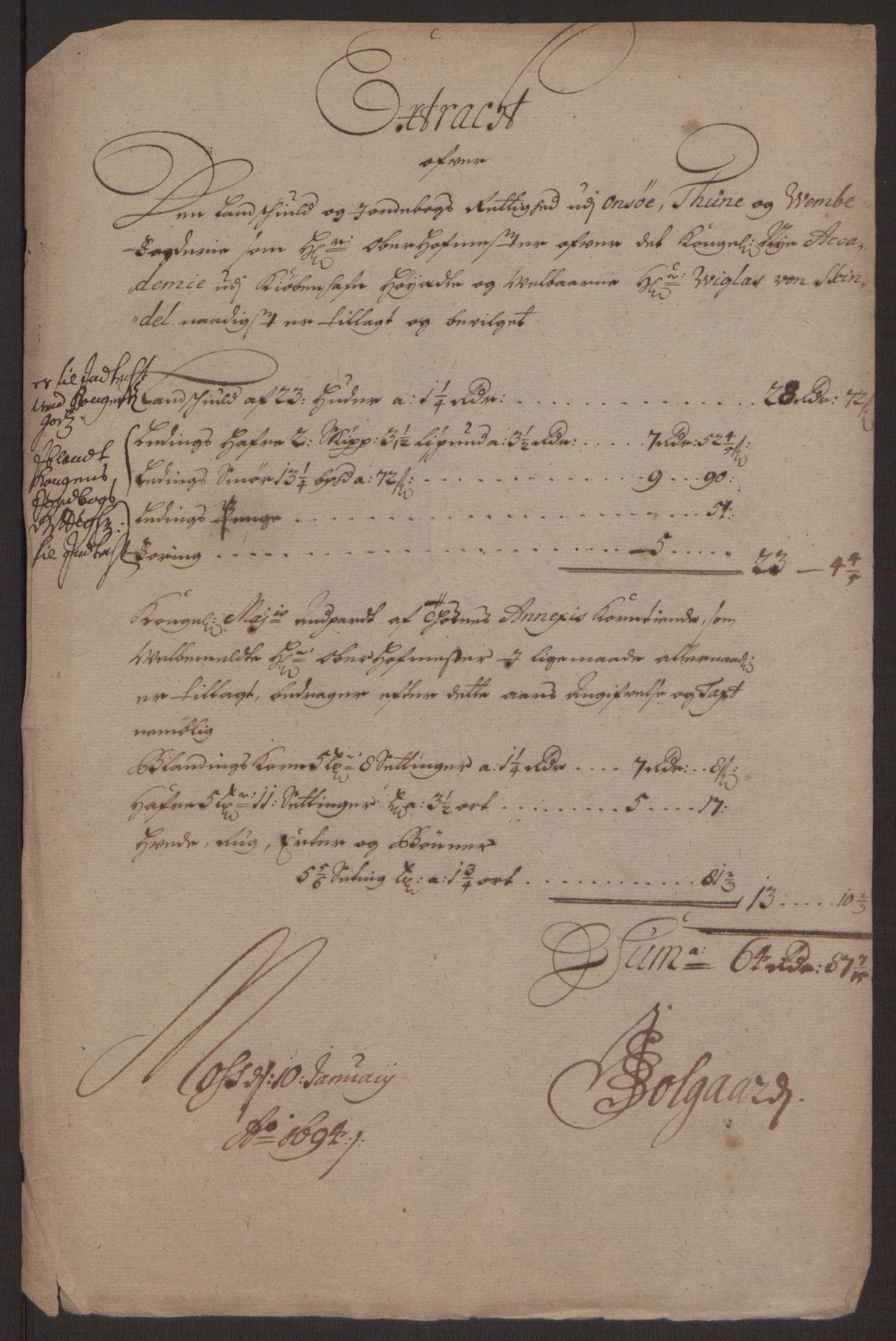 RA, Rentekammeret inntil 1814, Reviderte regnskaper, Fogderegnskap, R03/L0120: Fogderegnskap Onsøy, Tune, Veme og Åbygge fogderi, 1692-1693, s. 247