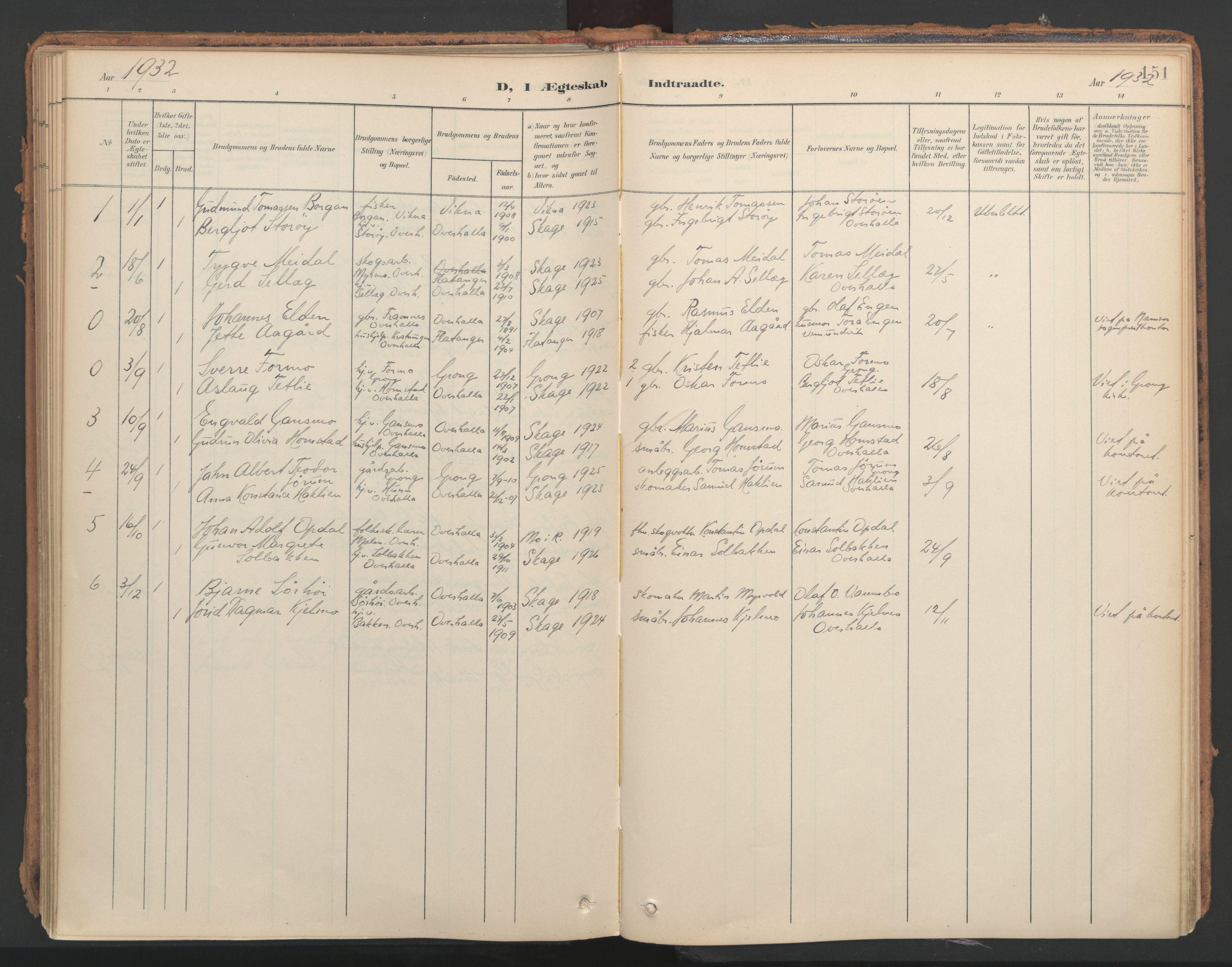SAT, Ministerialprotokoller, klokkerbøker og fødselsregistre - Nord-Trøndelag, 766/L0564: Ministerialbok nr. 767A02, 1900-1932, s. 151