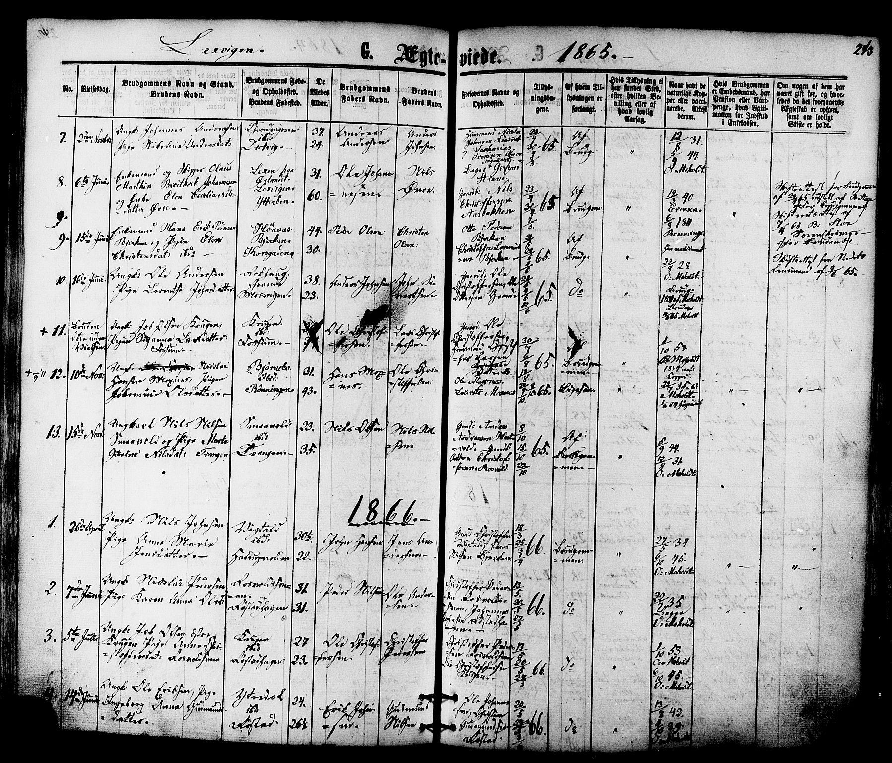 SAT, Ministerialprotokoller, klokkerbøker og fødselsregistre - Nord-Trøndelag, 701/L0009: Ministerialbok nr. 701A09 /1, 1864-1882, s. 243