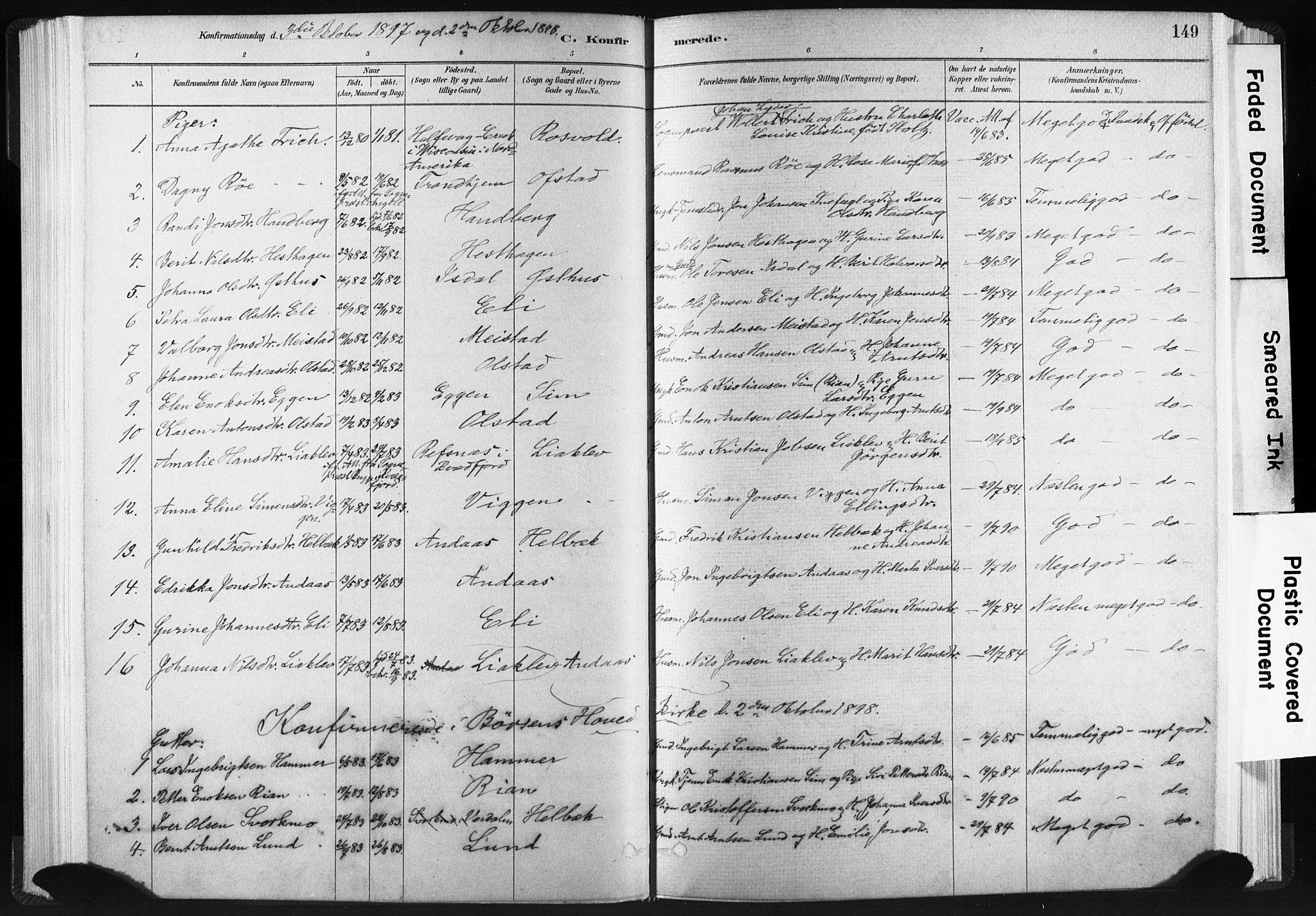 SAT, Ministerialprotokoller, klokkerbøker og fødselsregistre - Sør-Trøndelag, 665/L0773: Ministerialbok nr. 665A08, 1879-1905, s. 149