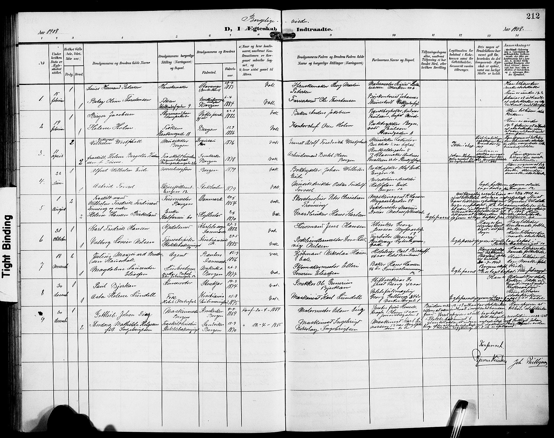 SAB, Domkirken Sokneprestembete, H/Hab/L0033: Klokkerbok nr. D 5, 1907-1924, s. 212