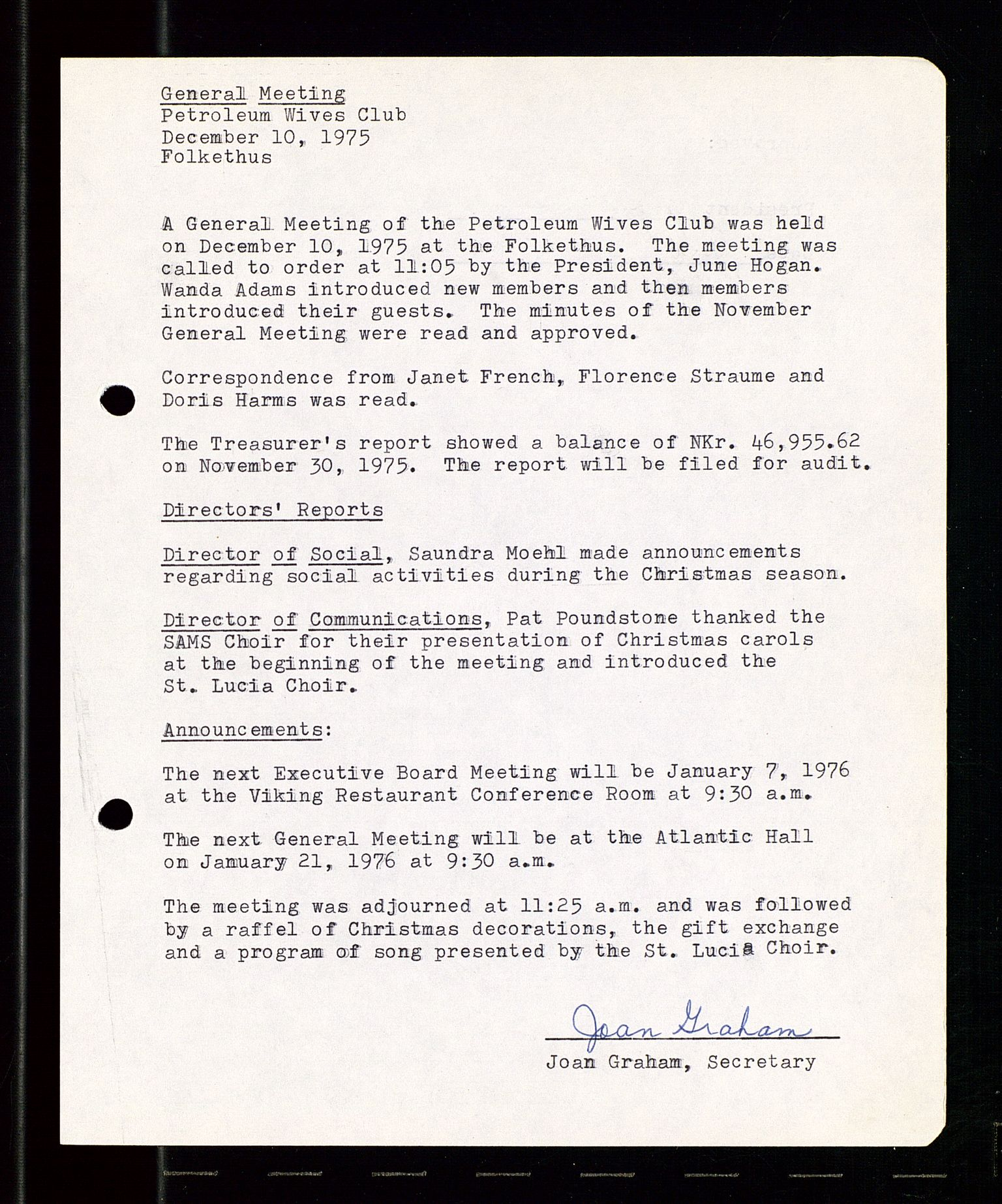 SAST, PA 1547 - Petroleum Wives Club, A/Aa/L0001: Board and General Meeting, 1970-1983