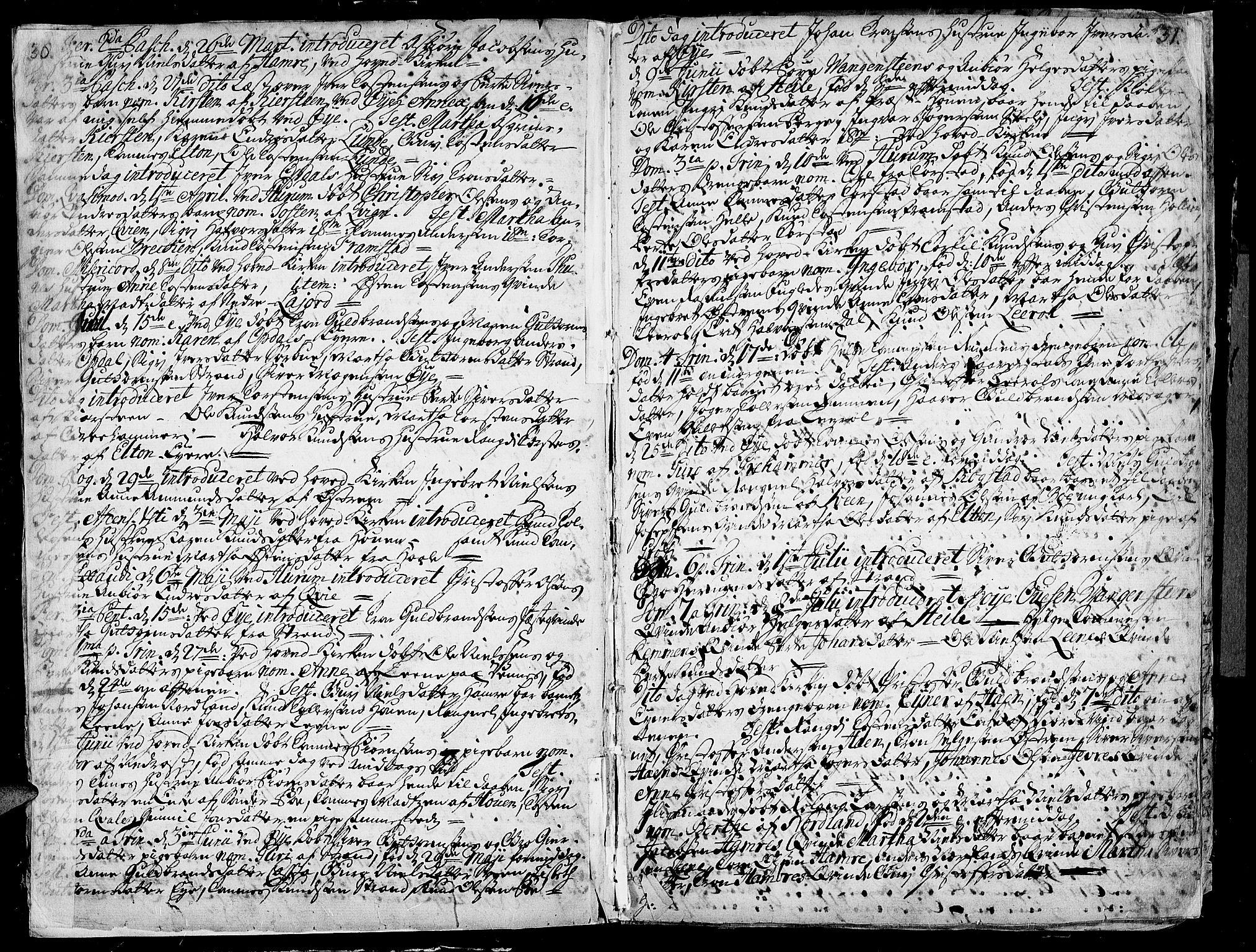 SAH, Vang prestekontor, Valdres, Ministerialbok nr. 1, 1730-1796, s. 30-31