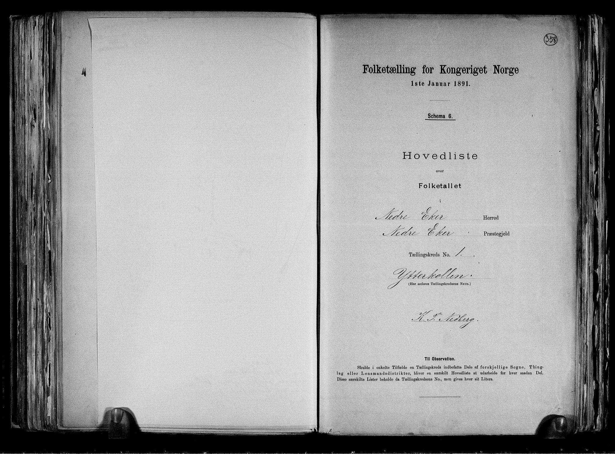 RA, Folketelling 1891 for 0625 Nedre Eiker herred, 1891, s. 5