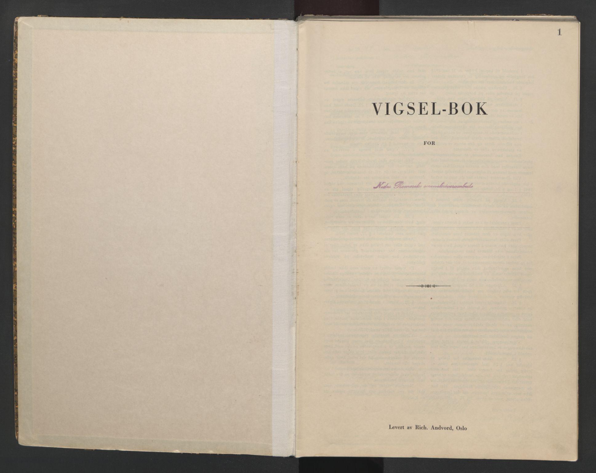 SAO, Nedre Romerike sorenskriveri, L/Lb/L0005: Vigselsbok - borgerlige vielser, 1944, s. 1