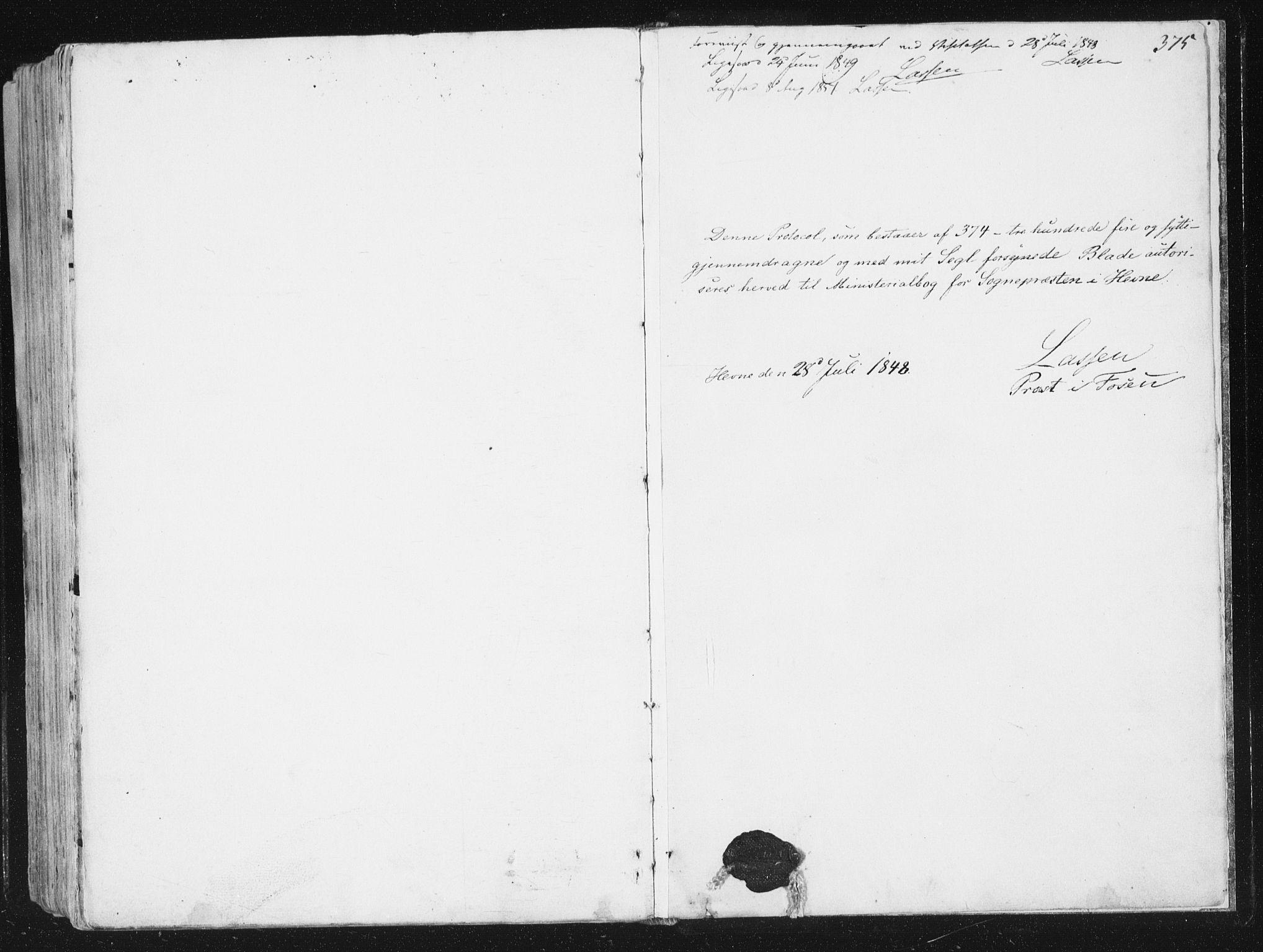 SAT, Ministerialprotokoller, klokkerbøker og fødselsregistre - Sør-Trøndelag, 630/L0493: Ministerialbok nr. 630A06, 1841-1851, s. 375