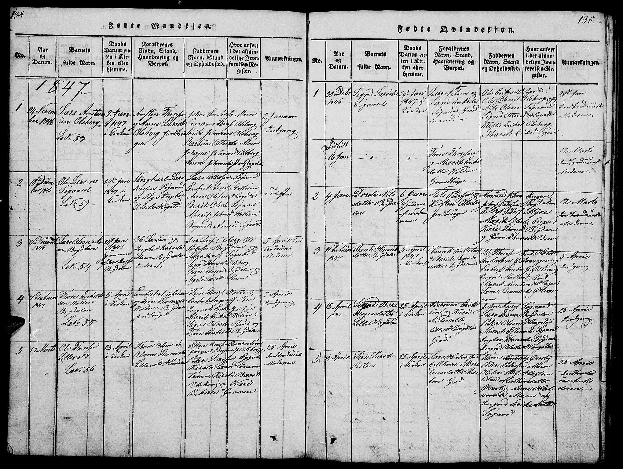 SAH, Tynset prestekontor, Klokkerbok nr. 4, 1814-1879, s. 134-135