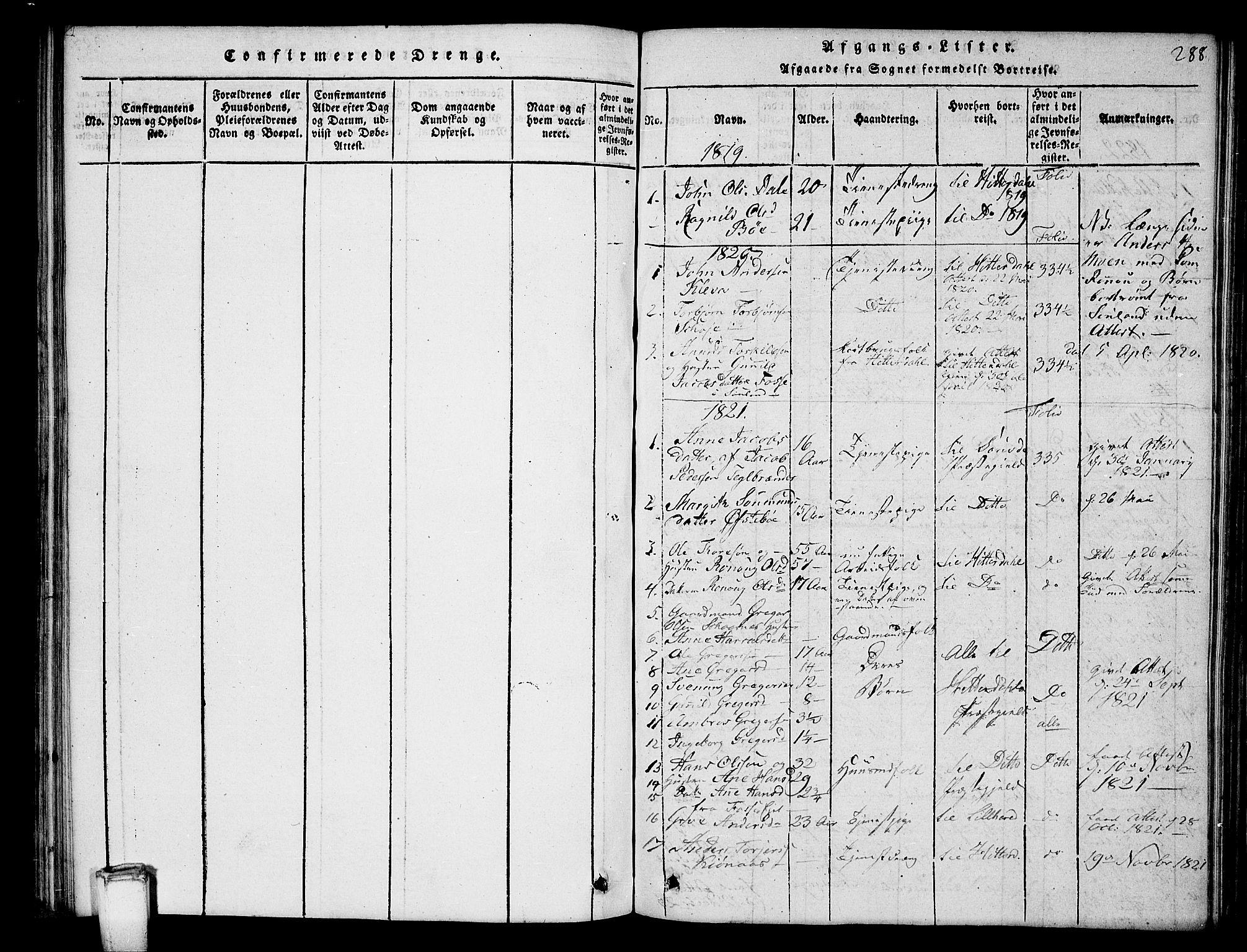 SAKO, Hjartdal kirkebøker, G/Gb/L0001: Klokkerbok nr. II 1, 1815-1842, s. 288