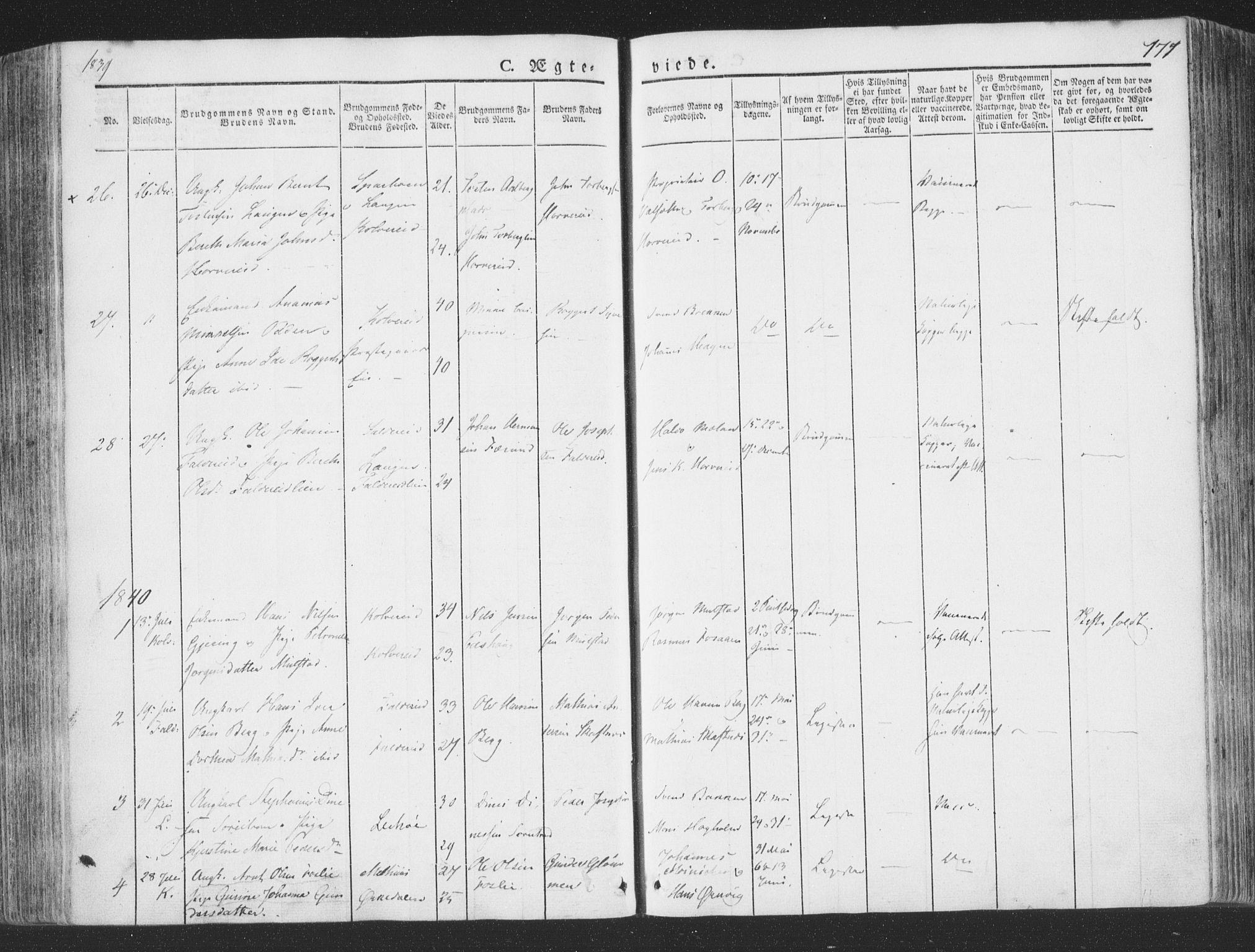 SAT, Ministerialprotokoller, klokkerbøker og fødselsregistre - Nord-Trøndelag, 780/L0639: Ministerialbok nr. 780A04, 1830-1844, s. 171