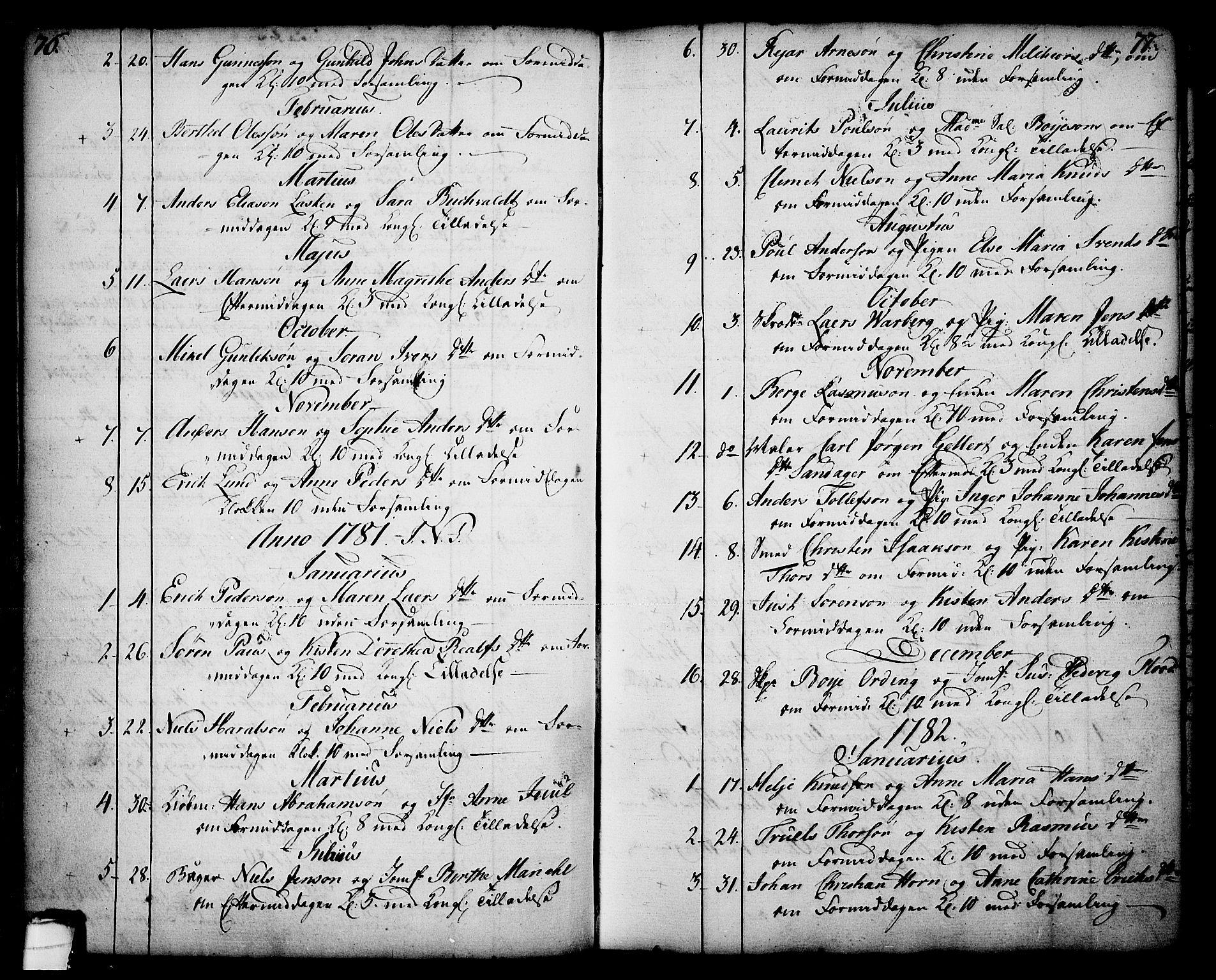 SAKO, Skien kirkebøker, F/Fa/L0003: Ministerialbok nr. 3, 1755-1791, s. 76-77