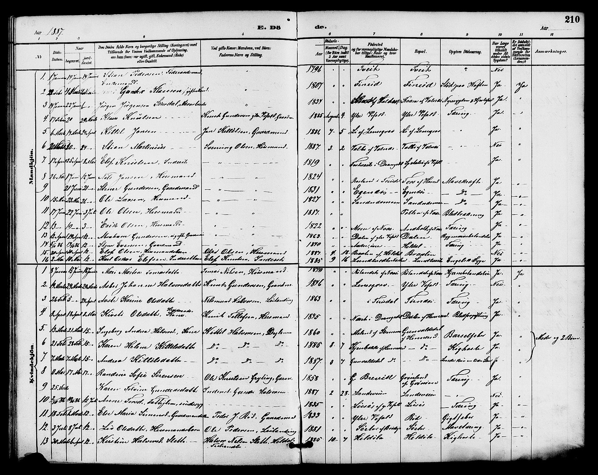 SAKO, Drangedal kirkebøker, G/Ga/L0003: Klokkerbok nr. I 3, 1887-1906, s. 210