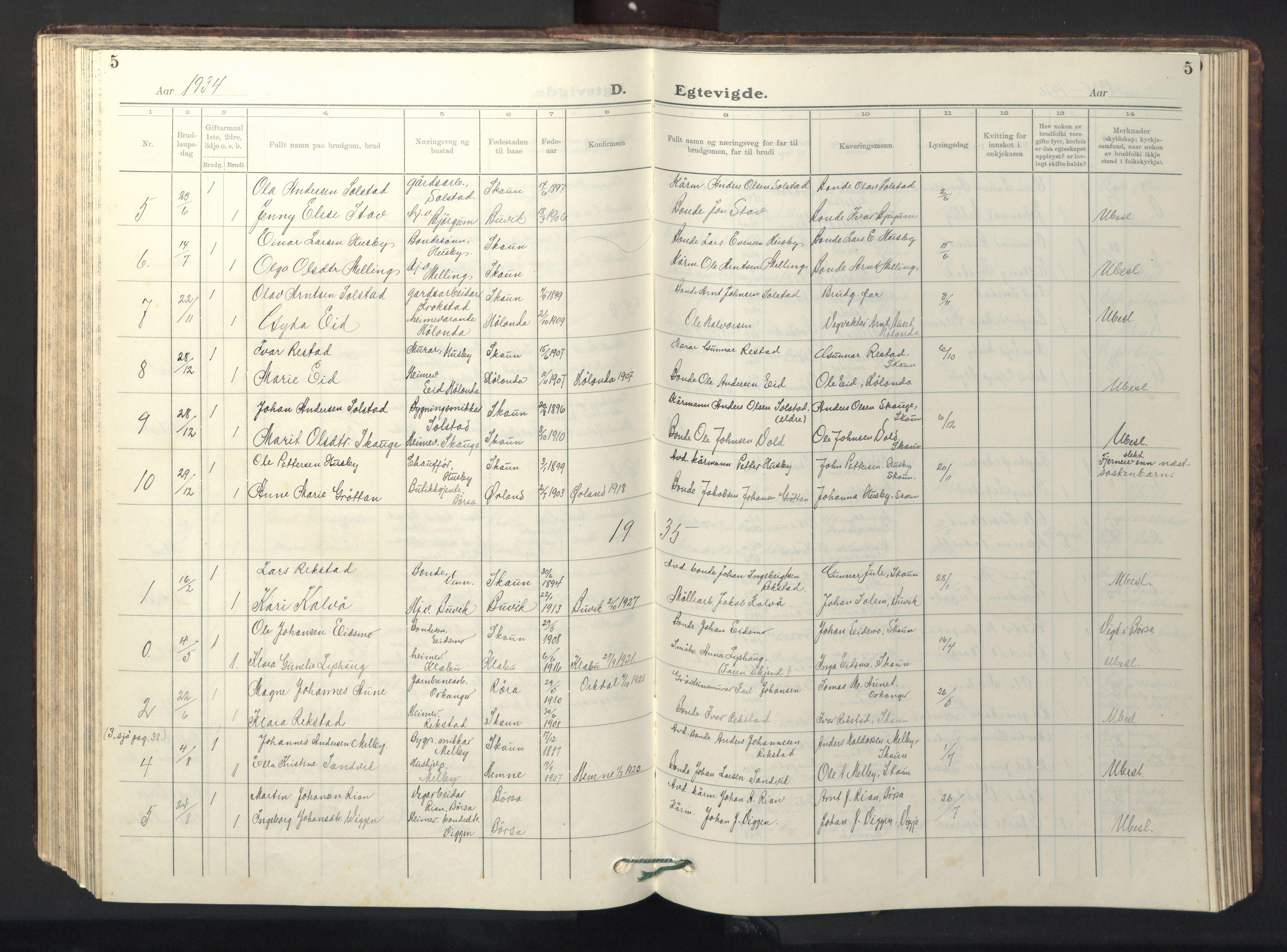 SAT, Ministerialprotokoller, klokkerbøker og fødselsregistre - Sør-Trøndelag, 667/L0799: Klokkerbok nr. 667C04, 1929-1950, s. 5