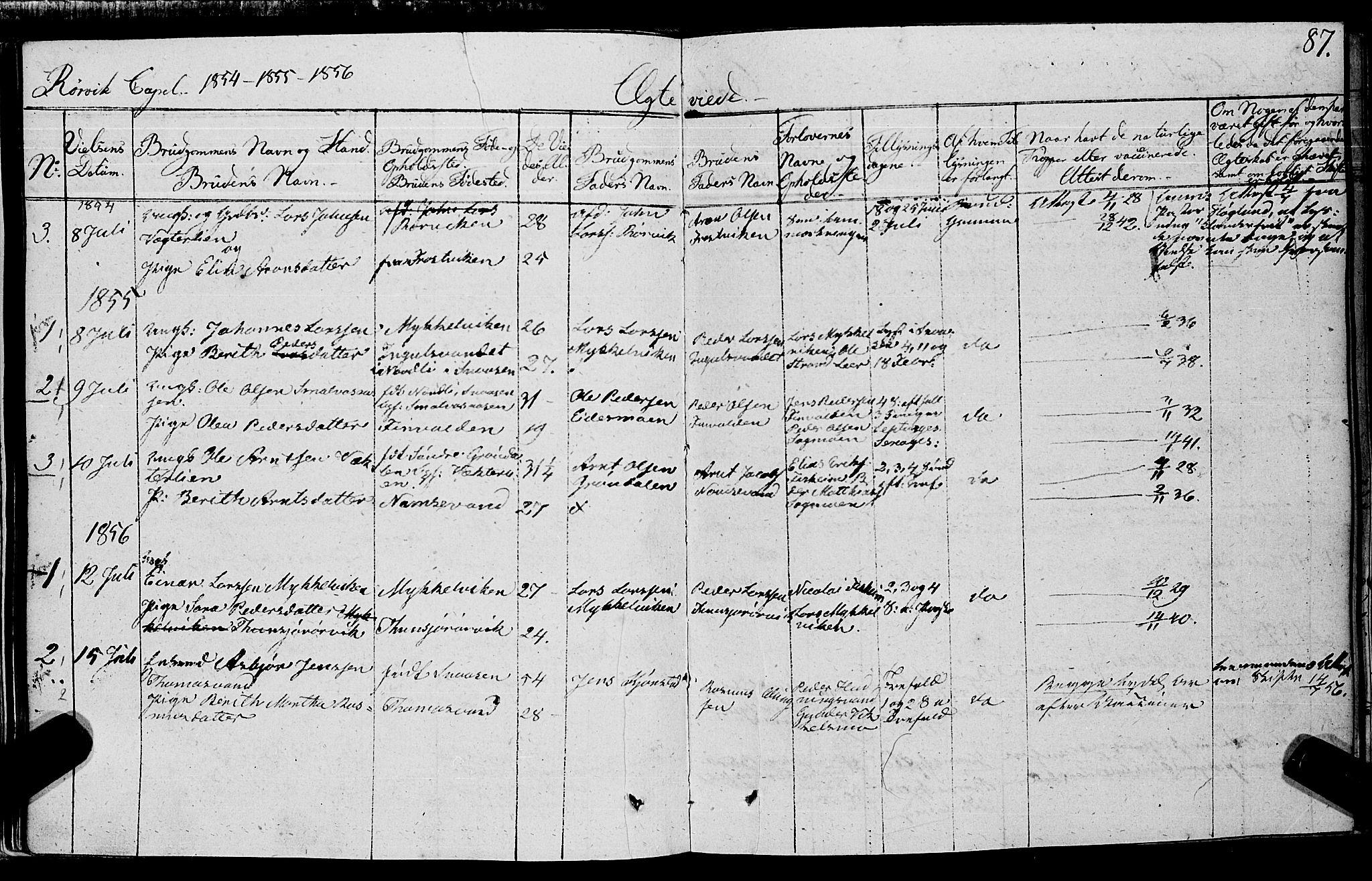 SAT, Ministerialprotokoller, klokkerbøker og fødselsregistre - Nord-Trøndelag, 762/L0538: Ministerialbok nr. 762A02 /1, 1833-1879, s. 87