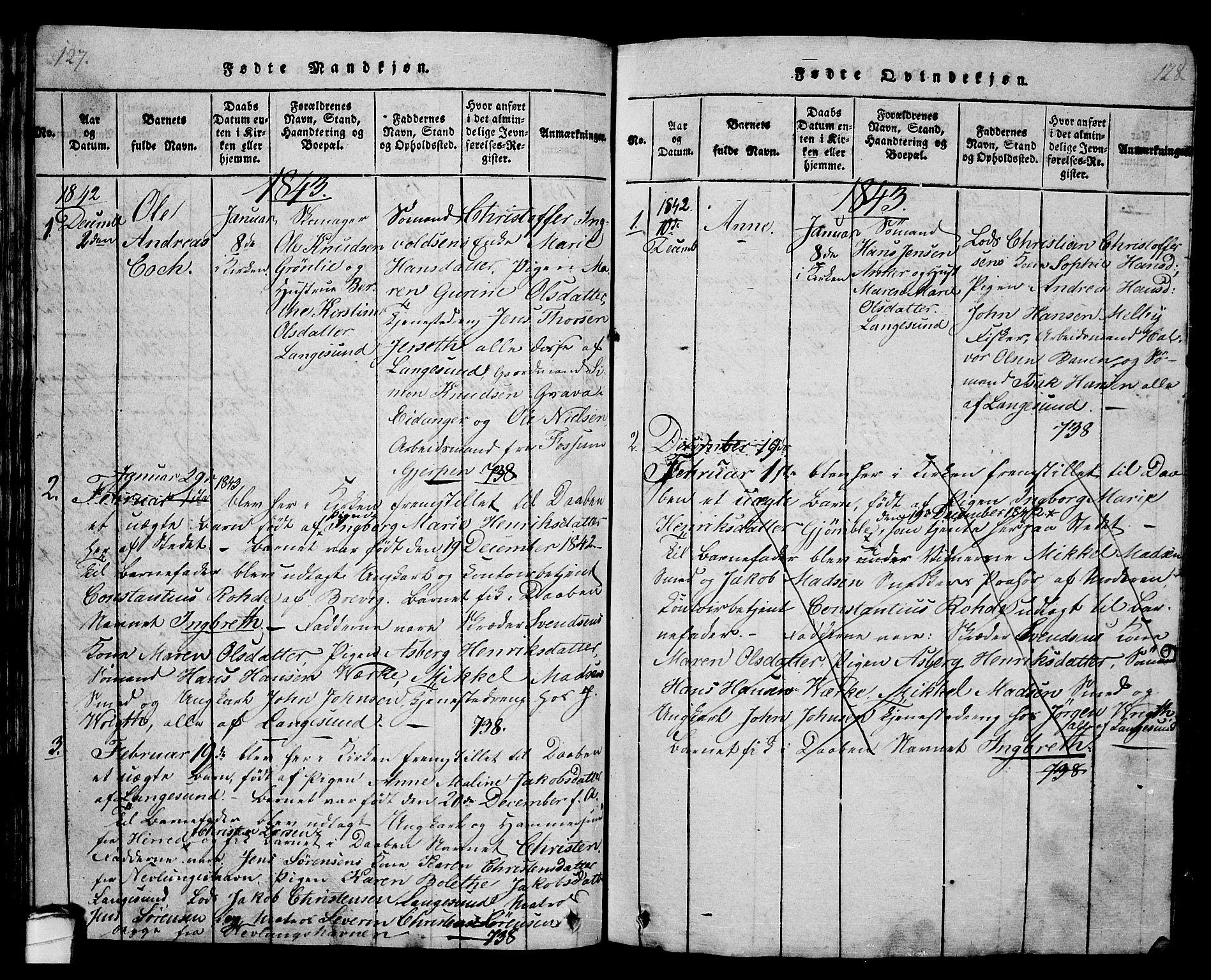 SAKO, Langesund kirkebøker, G/Ga/L0003: Klokkerbok nr. 3, 1815-1858, s. 127-128
