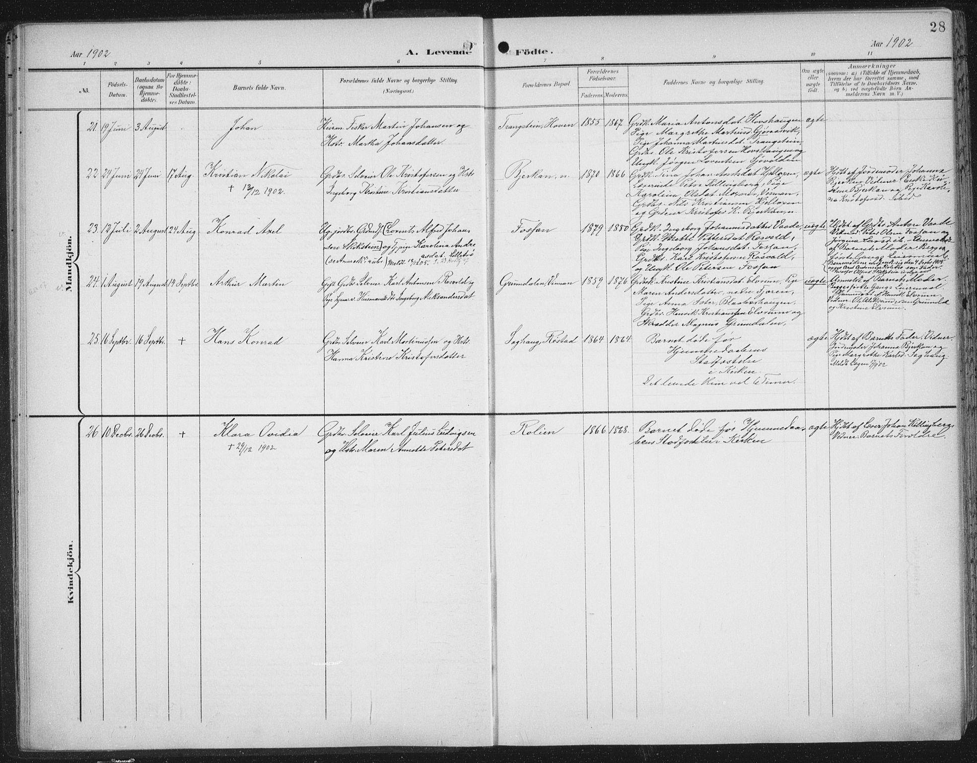 SAT, Ministerialprotokoller, klokkerbøker og fødselsregistre - Nord-Trøndelag, 701/L0011: Ministerialbok nr. 701A11, 1899-1915, s. 28