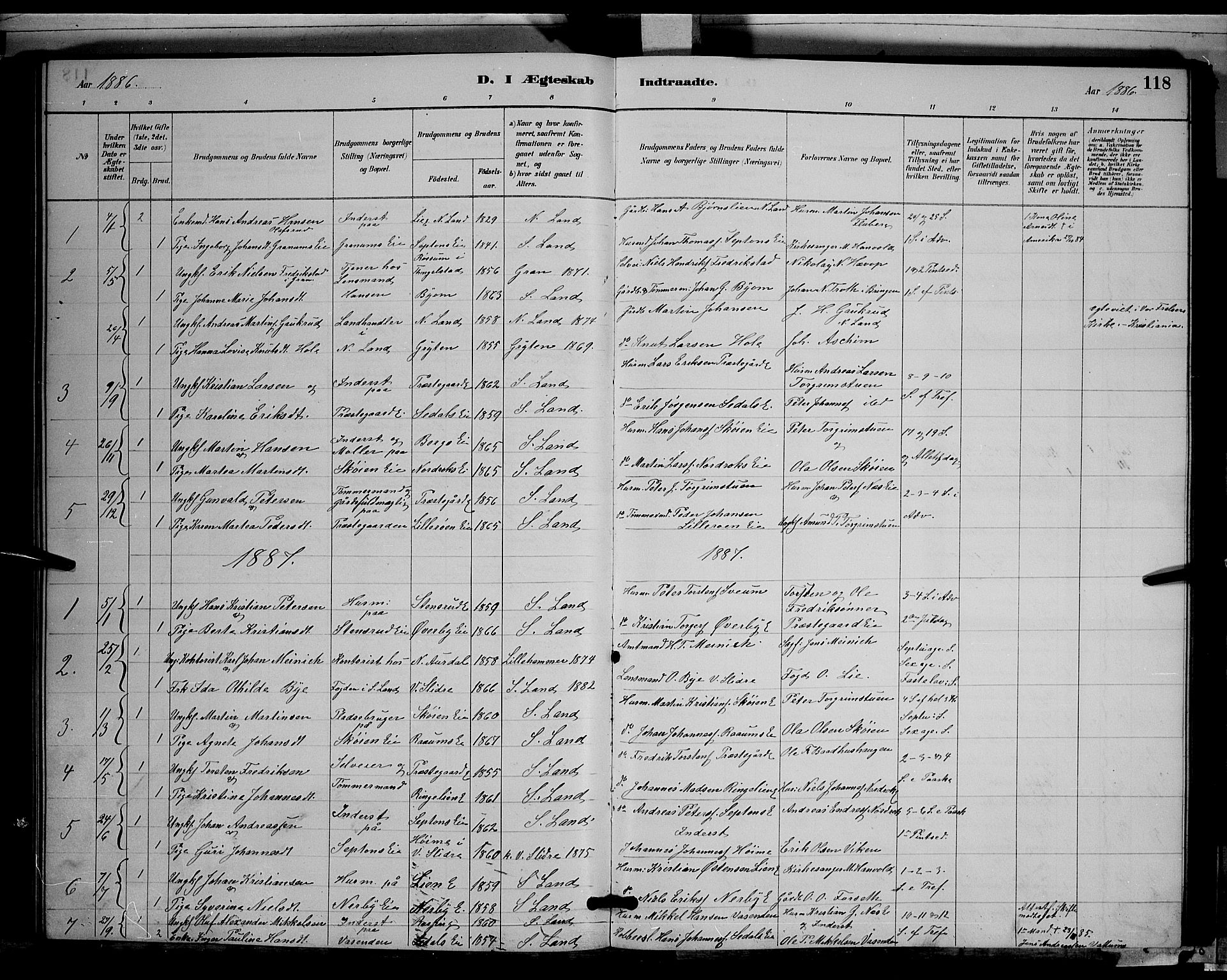 SAH, Søndre Land prestekontor, L/L0003: Klokkerbok nr. 3, 1884-1902, s. 118