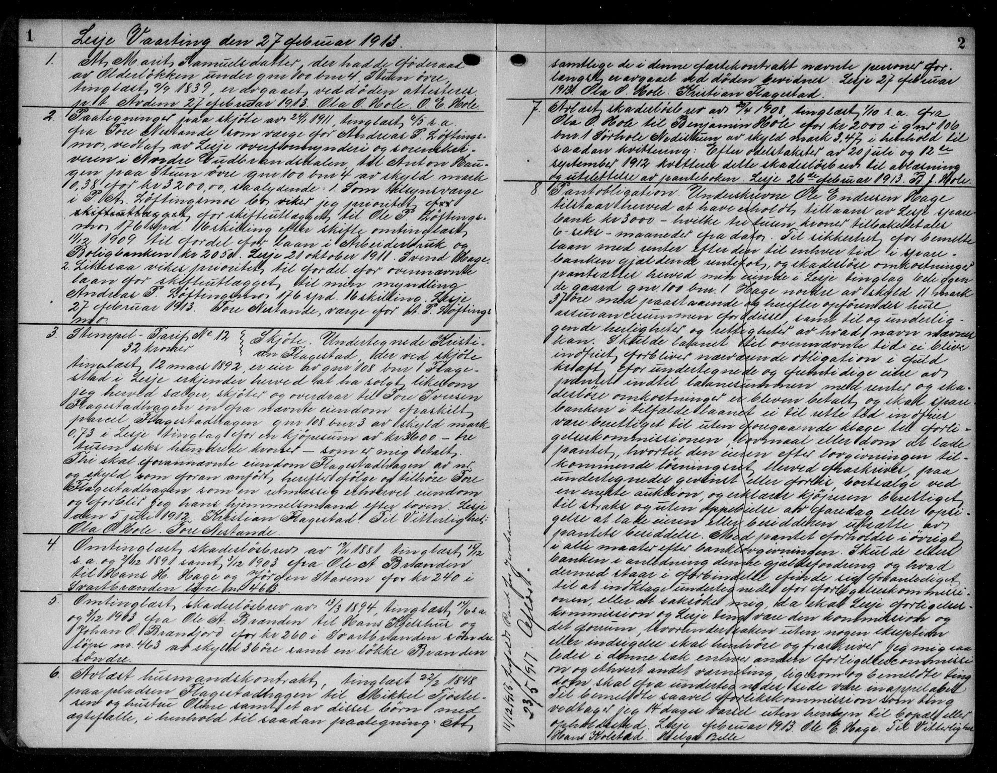 SAH, Nord-Gudbrandsdal tingrett, H/Hb/Hba/L0018: Pantebok nr. 18, 1913-1915, s. 1-2