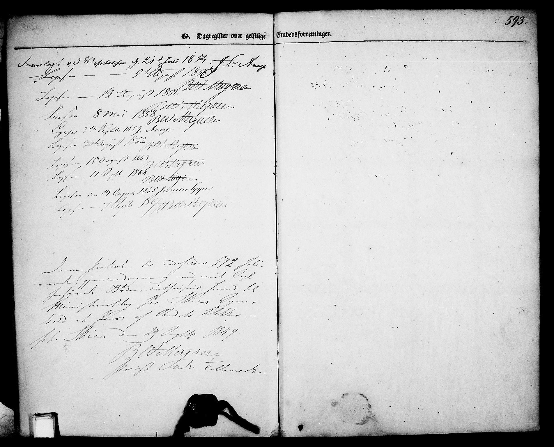 SAKO, Skien kirkebøker, G/Ga/L0004: Klokkerbok nr. 4, 1843-1867, s. 593