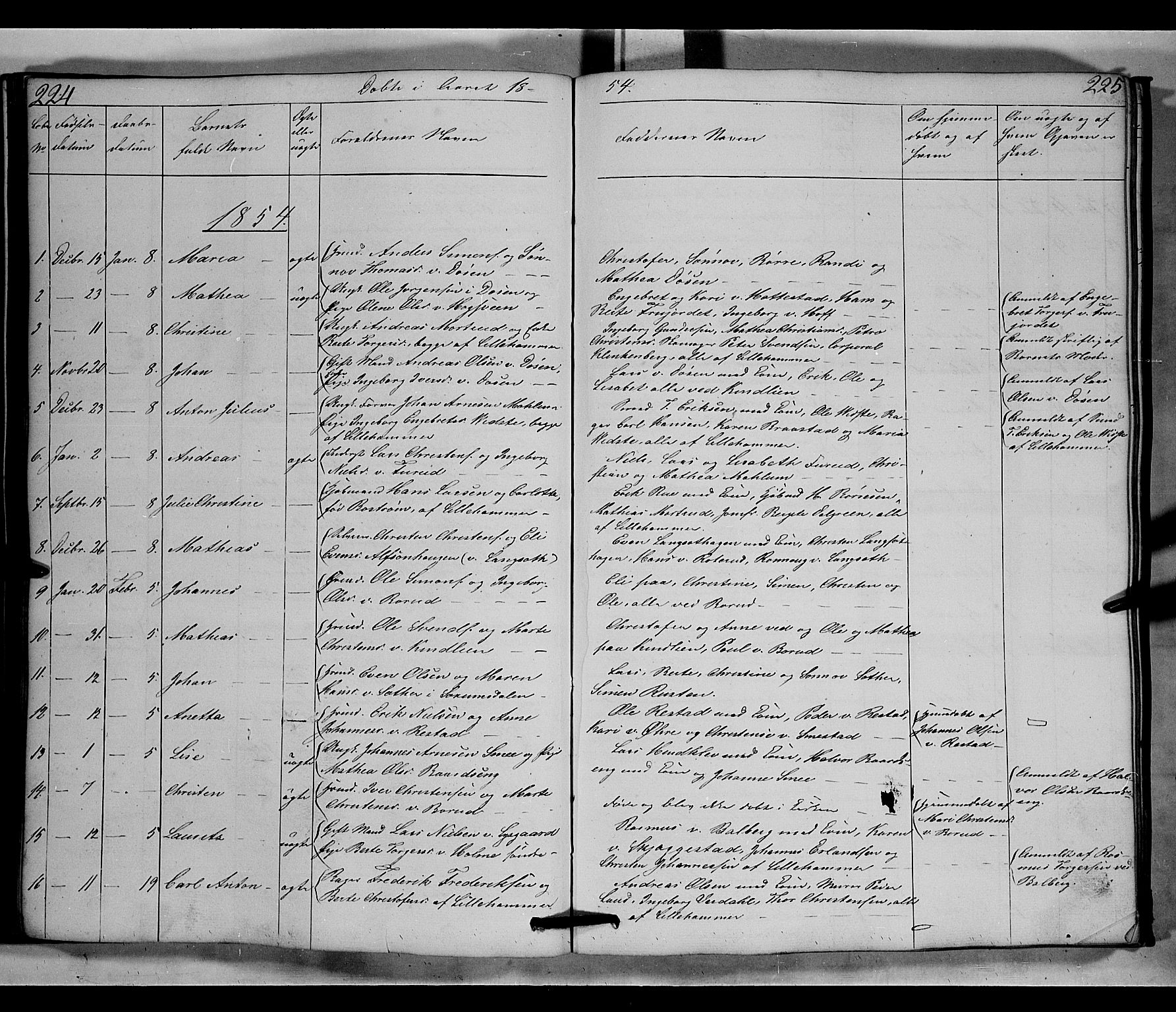 SAH, Fåberg prestekontor, Klokkerbok nr. 6, 1837-1855, s. 224-225