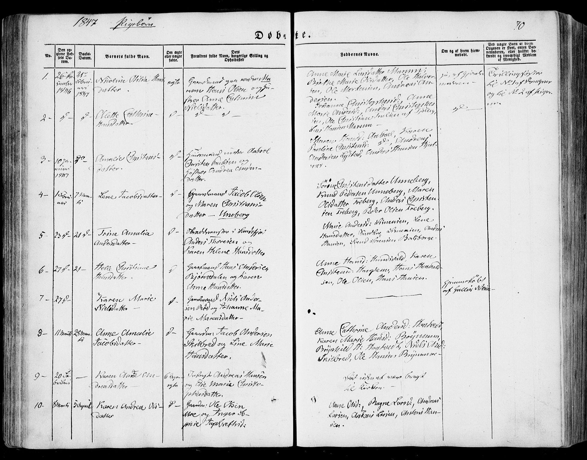 SAKO, Sandar kirkebøker, F/Fa/L0006: Ministerialbok nr. 6, 1847-1860, s. 70