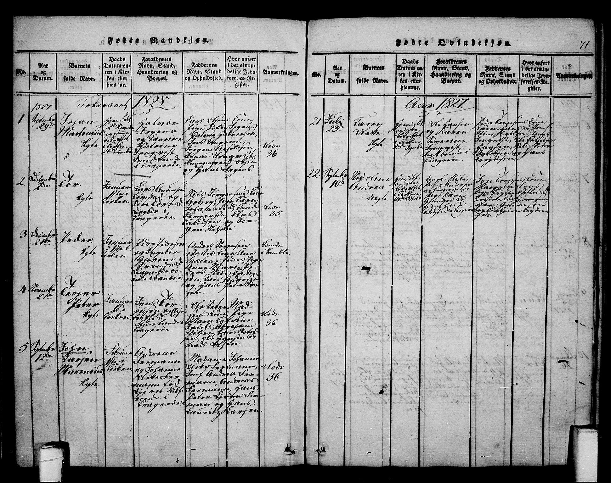SAKO, Kragerø kirkebøker, F/Fa/L0004: Ministerialbok nr. 4, 1814-1831, s. 71