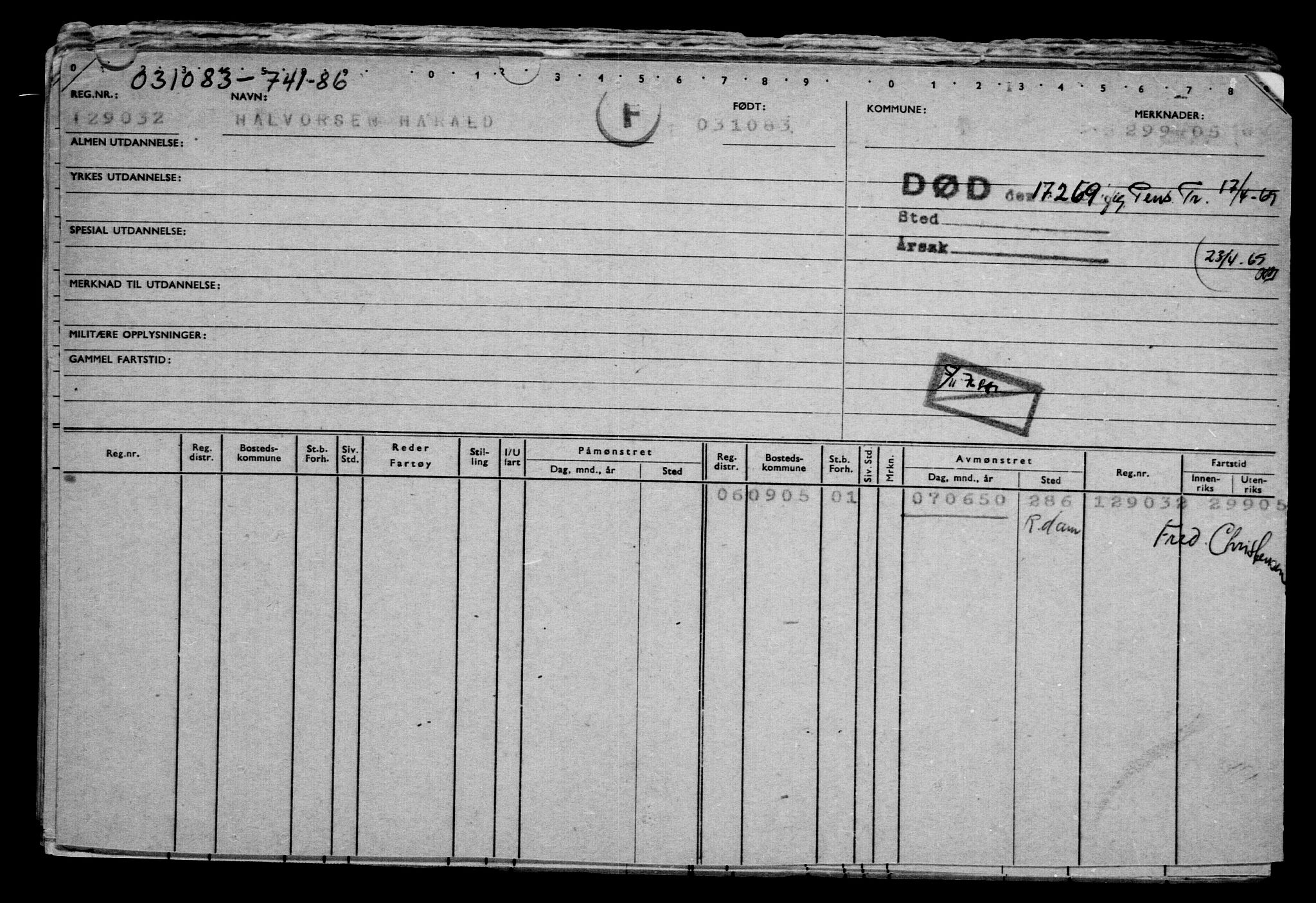 RA, Direktoratet for sjømenn, G/Gb/L0002: Hovedkort, 1883-1885, s. 117