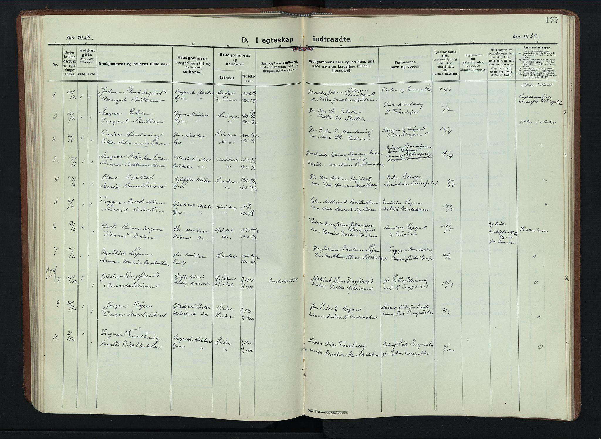 SAH, Sel prestekontor, Klokkerbok nr. 6, 1923-1953, s. 177