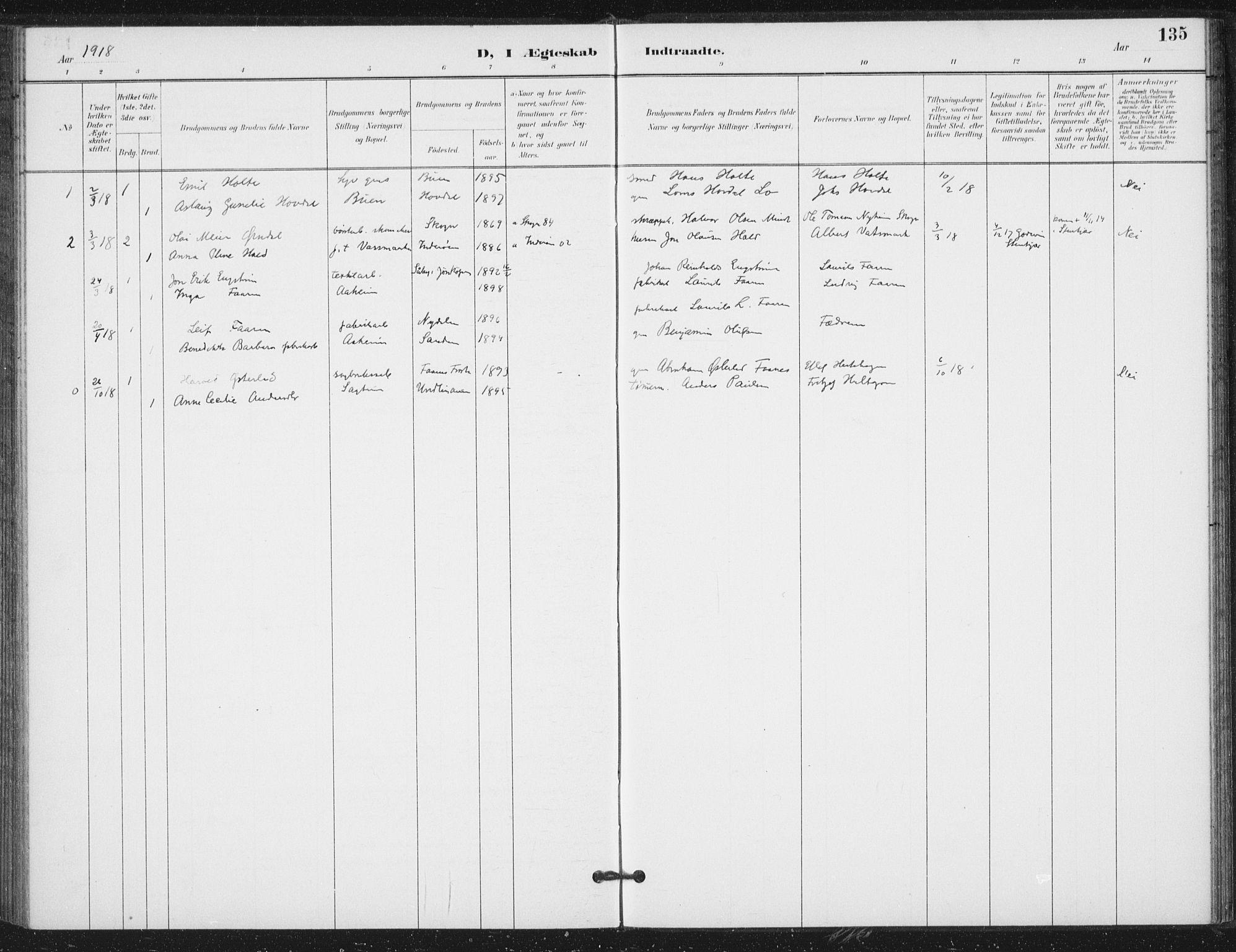 SAT, Ministerialprotokoller, klokkerbøker og fødselsregistre - Nord-Trøndelag, 714/L0131: Ministerialbok nr. 714A02, 1896-1918, s. 135