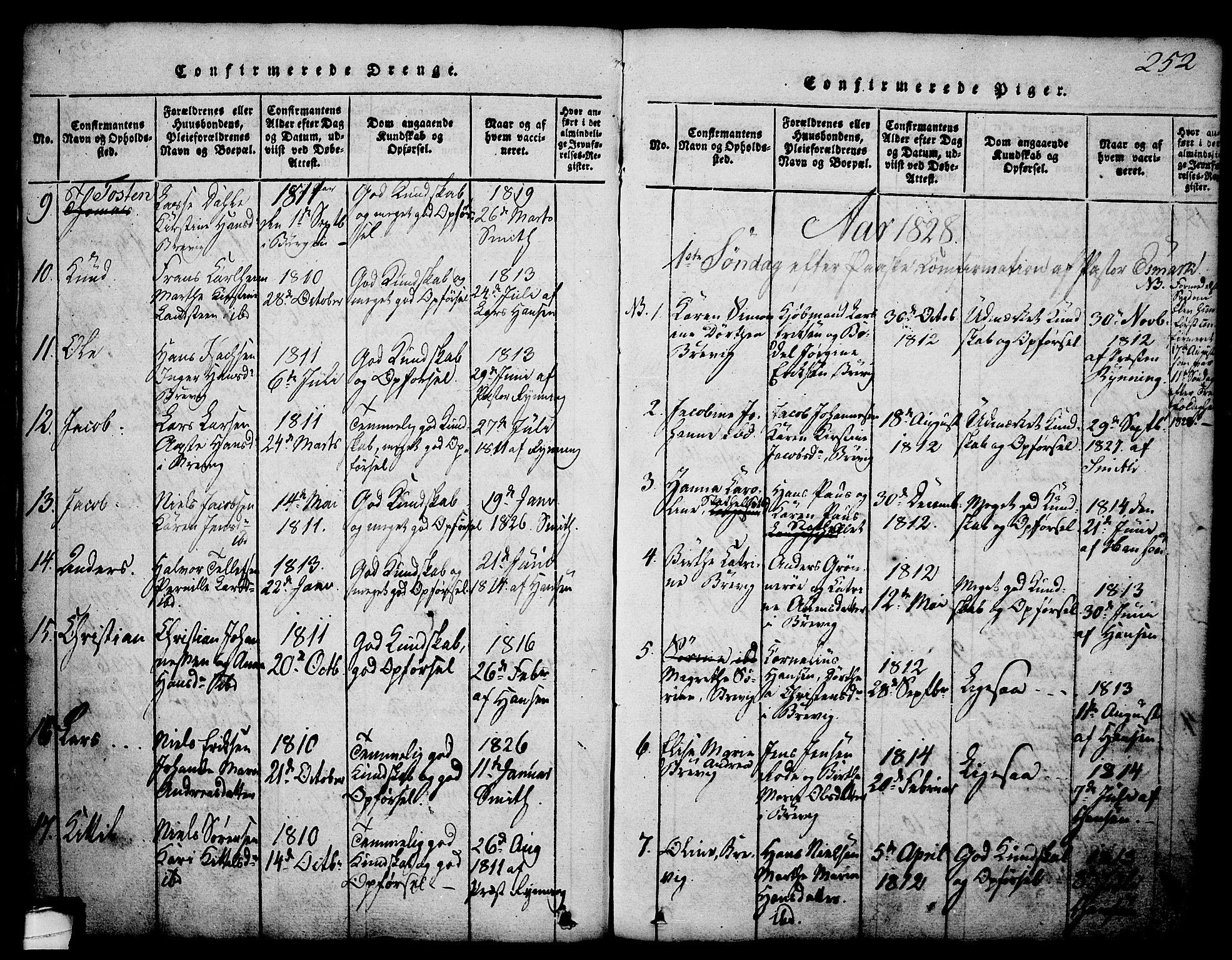 SAKO, Brevik kirkebøker, G/Ga/L0001: Klokkerbok nr. 1, 1814-1845, s. 252