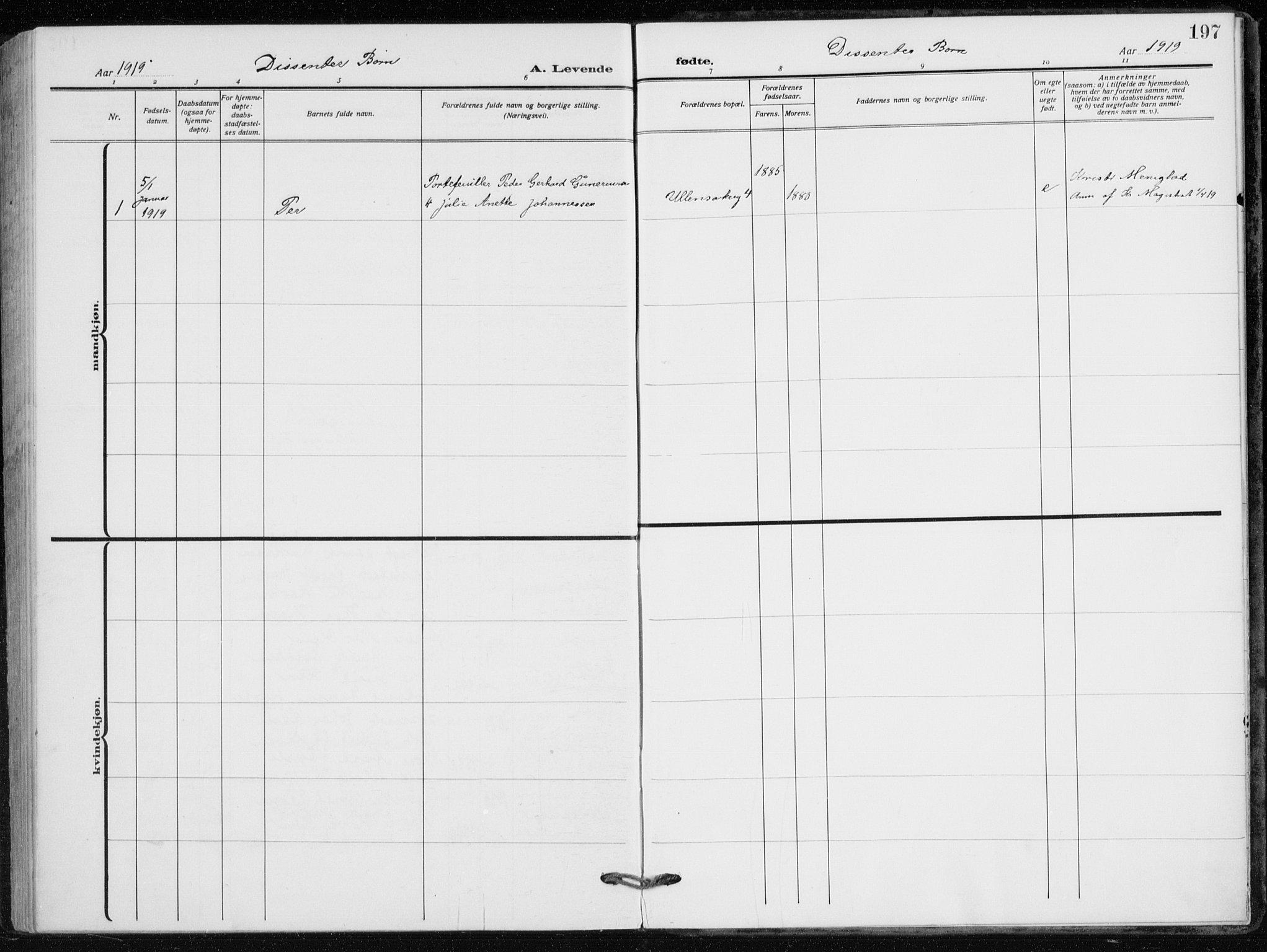 SAO, Kampen prestekontor Kirkebøker, F/Fa/L0012: Ministerialbok nr. I 12, 1916-1921, s. 197
