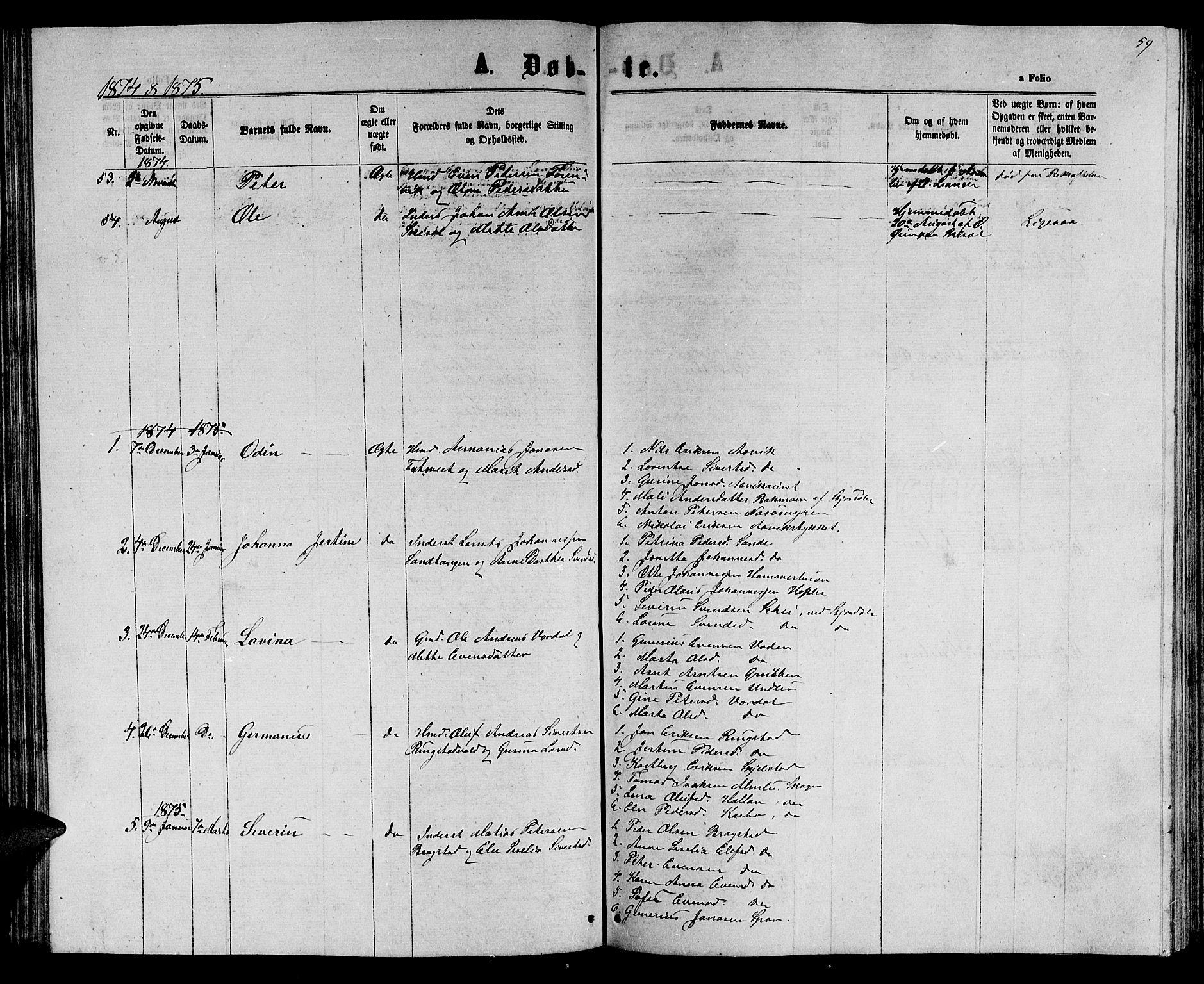SAT, Ministerialprotokoller, klokkerbøker og fødselsregistre - Nord-Trøndelag, 714/L0133: Klokkerbok nr. 714C02, 1865-1877, s. 59