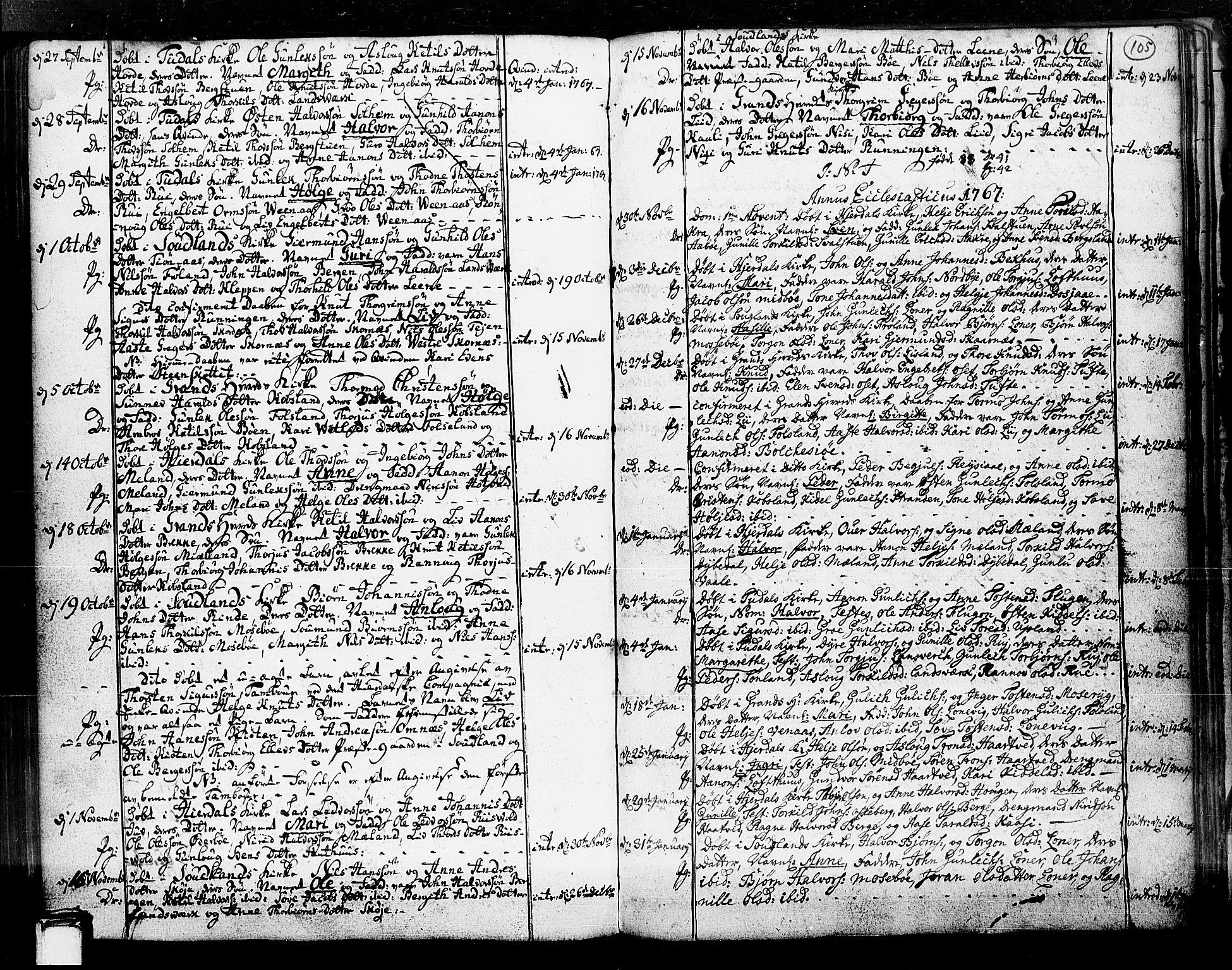 SAKO, Hjartdal kirkebøker, F/Fa/L0003: Ministerialbok nr. I 3, 1727-1775, s. 105