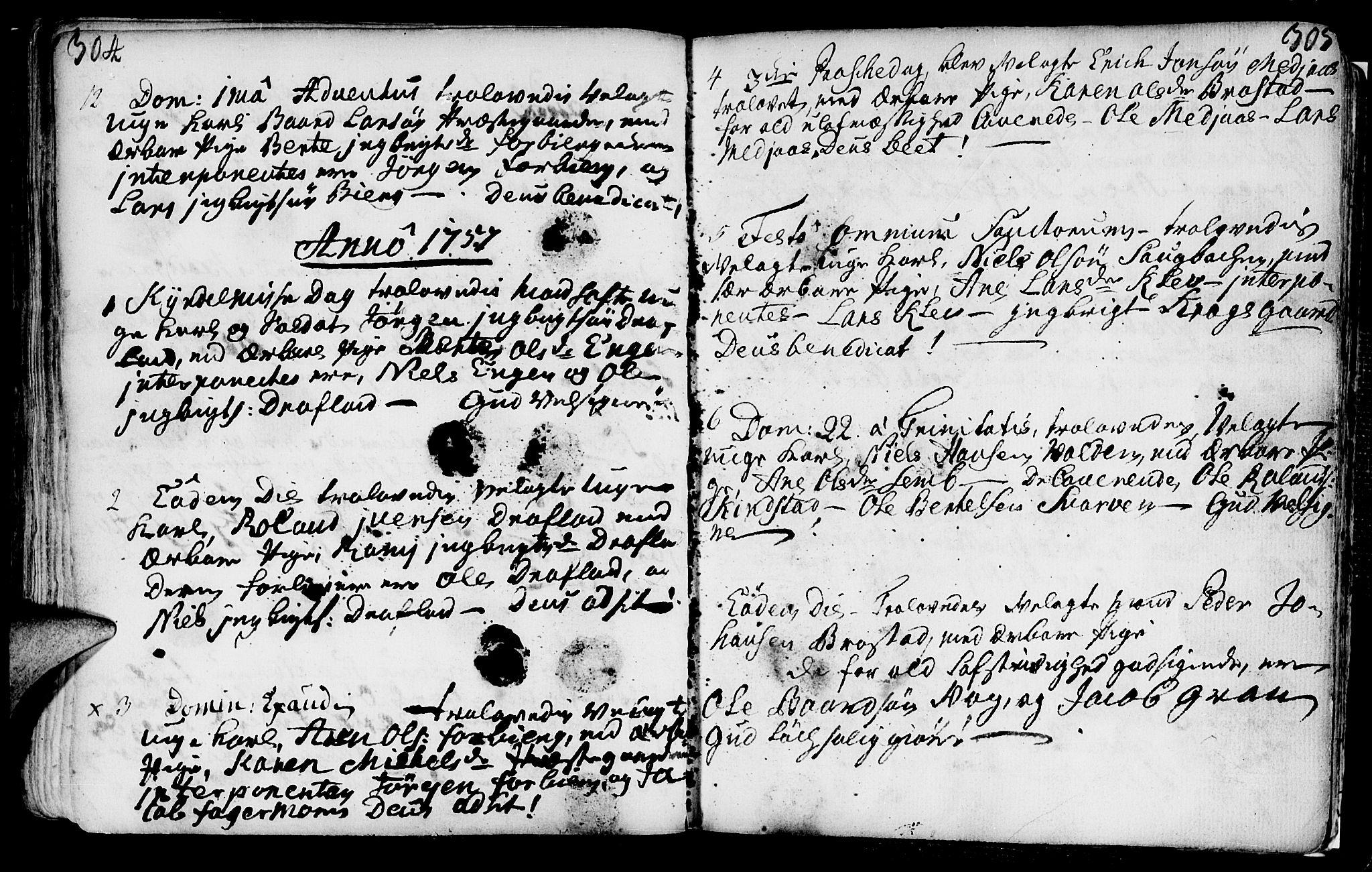 SAT, Ministerialprotokoller, klokkerbøker og fødselsregistre - Nord-Trøndelag, 749/L0467: Ministerialbok nr. 749A01, 1733-1787, s. 304-305