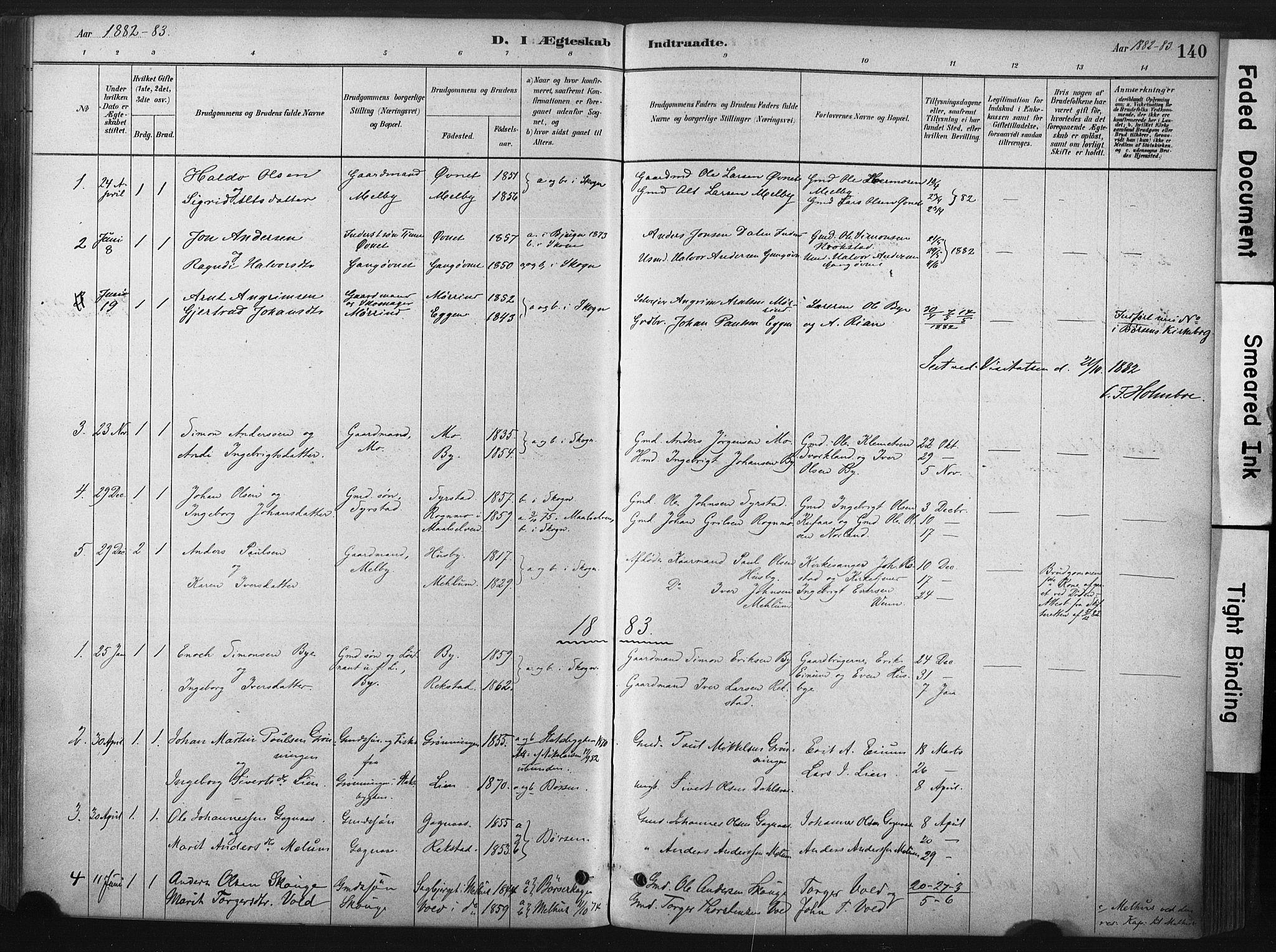 SAT, Ministerialprotokoller, klokkerbøker og fødselsregistre - Sør-Trøndelag, 667/L0795: Ministerialbok nr. 667A03, 1879-1907, s. 140