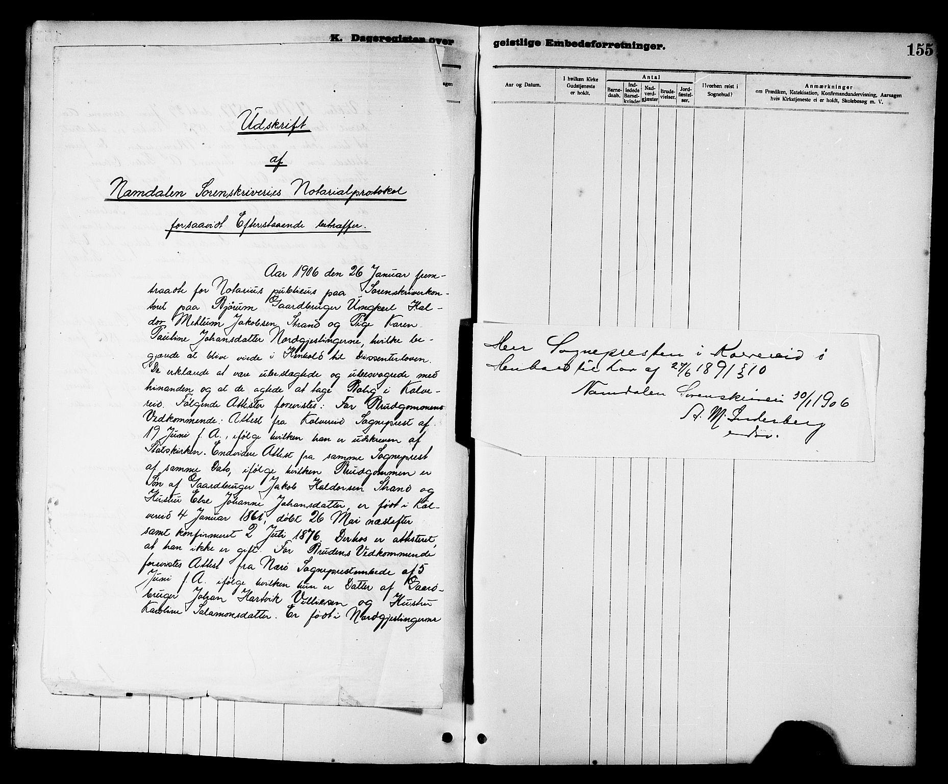 SAT, Ministerialprotokoller, klokkerbøker og fødselsregistre - Nord-Trøndelag, 780/L0652: Klokkerbok nr. 780C04, 1899-1911, s. 155
