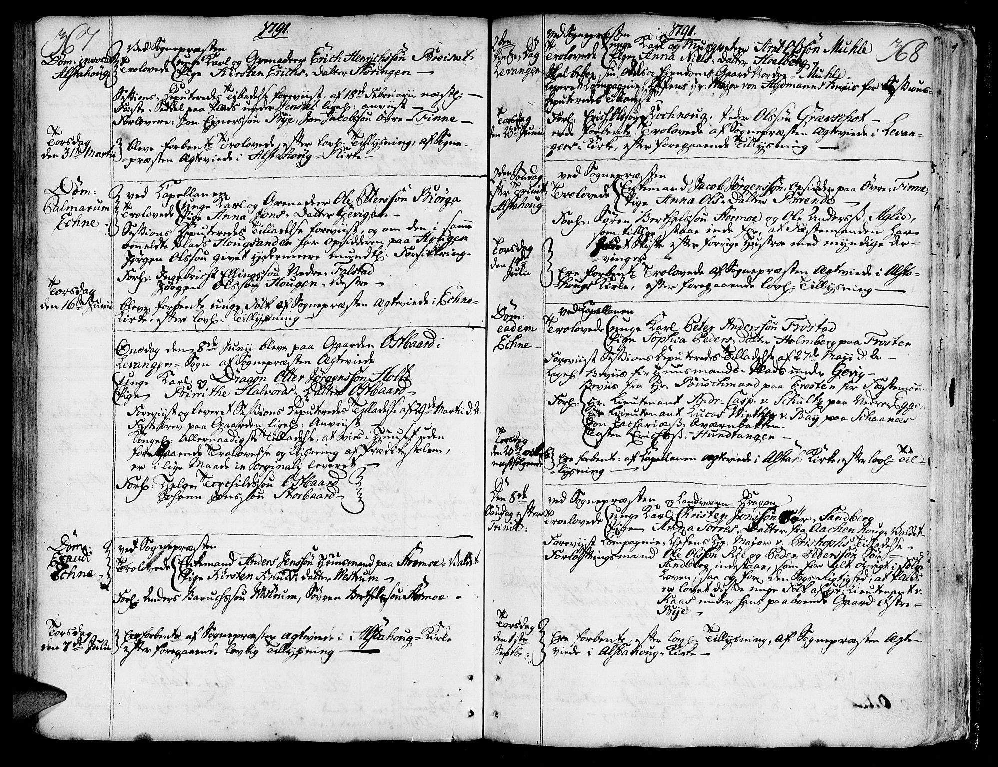 SAT, Ministerialprotokoller, klokkerbøker og fødselsregistre - Nord-Trøndelag, 717/L0141: Ministerialbok nr. 717A01, 1747-1803, s. 367-368
