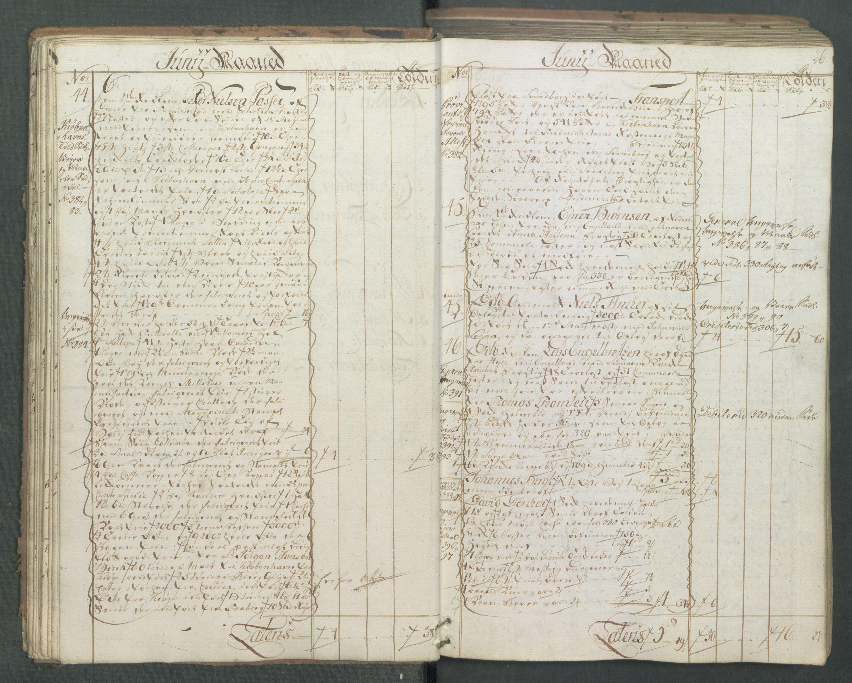 RA, Generaltollkammeret, tollregnskaper, R01/L0046: Tollregnskaper Fredrikshald, 1762, s. 25b-26a
