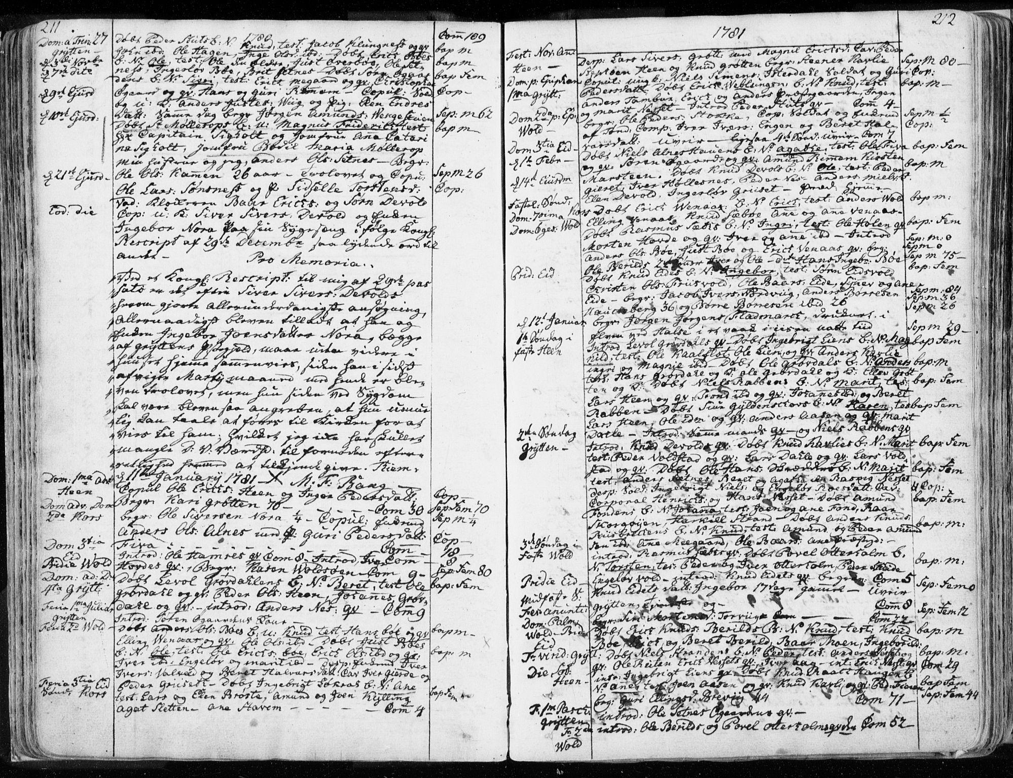SAT, Ministerialprotokoller, klokkerbøker og fødselsregistre - Møre og Romsdal, 544/L0569: Ministerialbok nr. 544A02, 1764-1806, s. 211-212