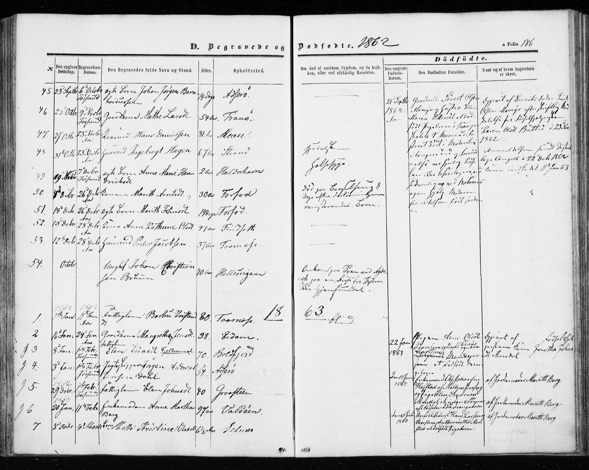 SAT, Ministerialprotokoller, klokkerbøker og fødselsregistre - Sør-Trøndelag, 655/L0678: Ministerialbok nr. 655A07, 1861-1873, s. 186